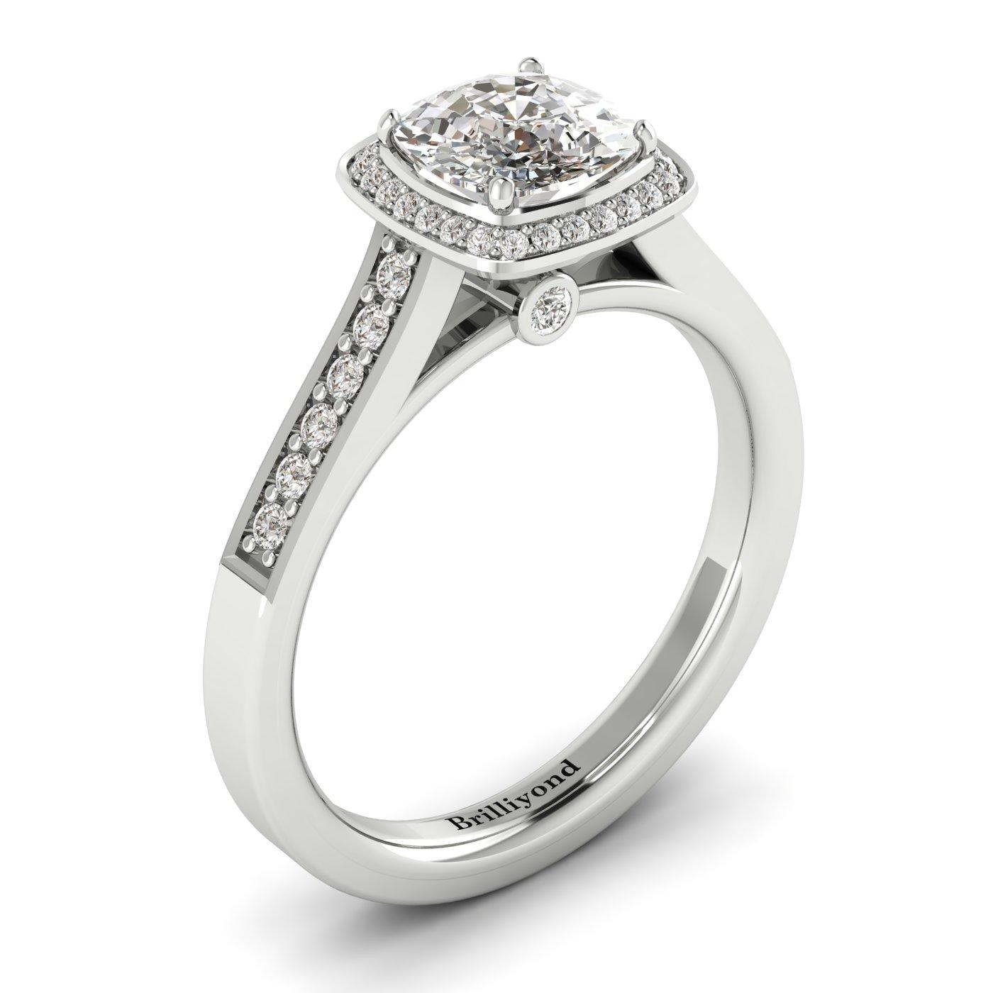 Diamond White Gold Cushion Cut Engagement Ring Arcadia_image2