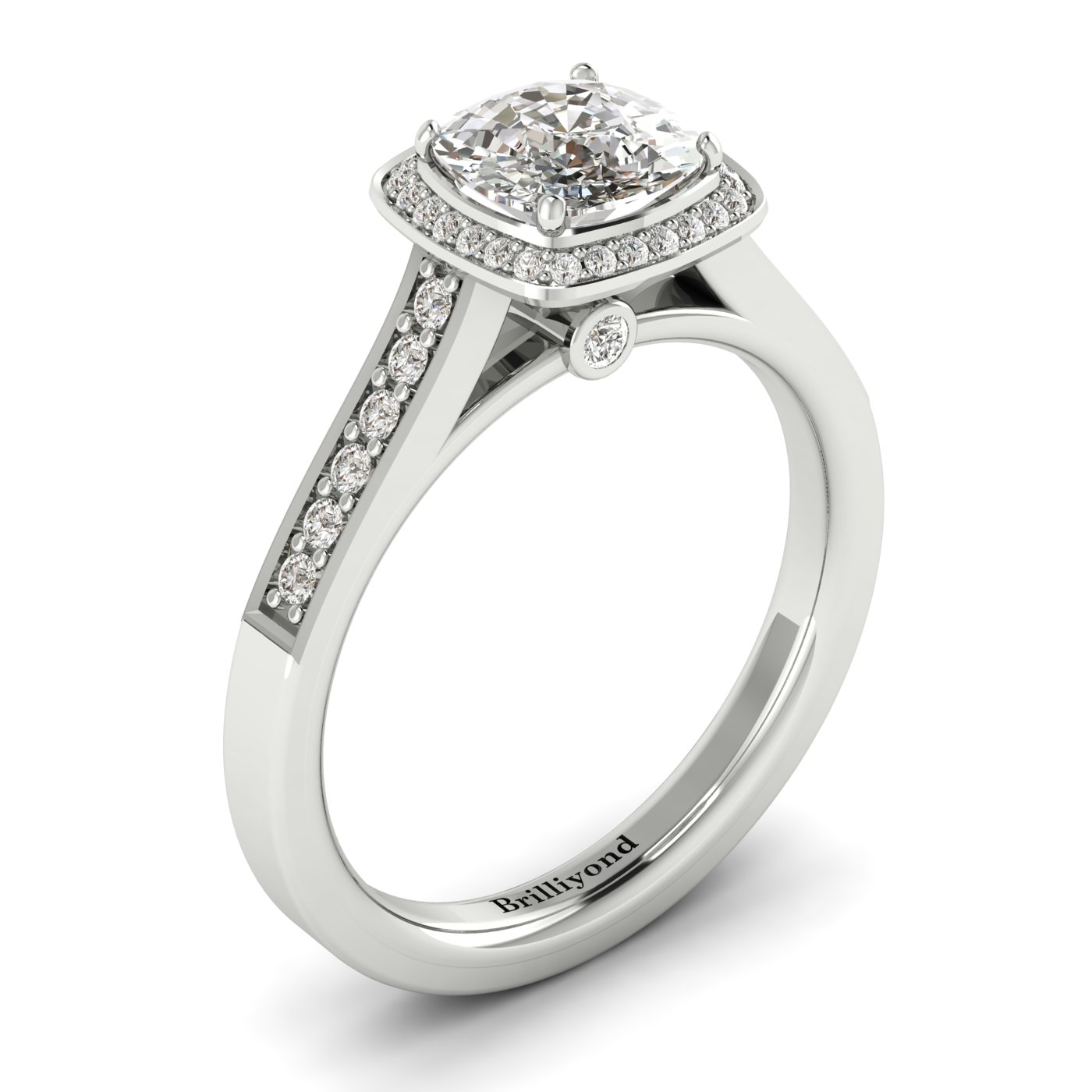 Diamond White Gold Cushion Cut Engagement Ring Arcadia