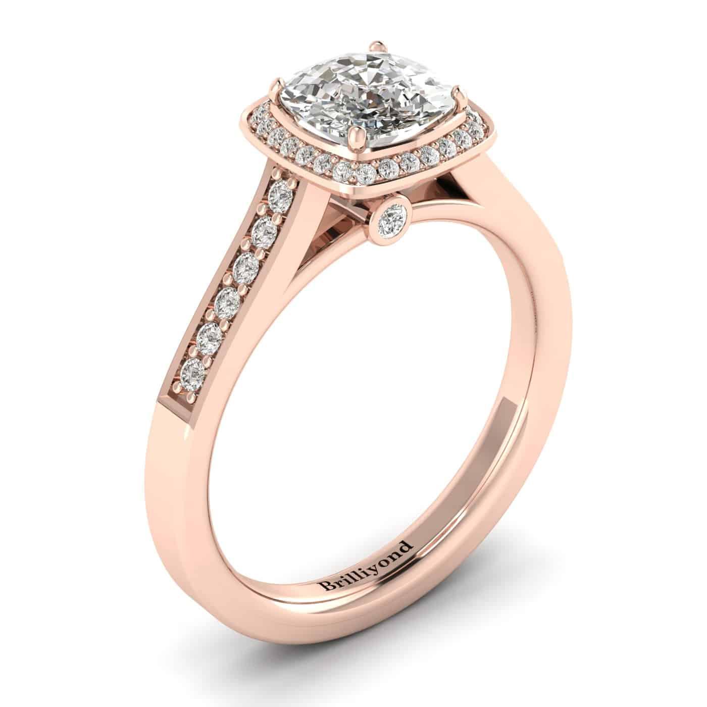 Diamond Rose Gold Cushion Cut Engagement Ring Arcadia_image1