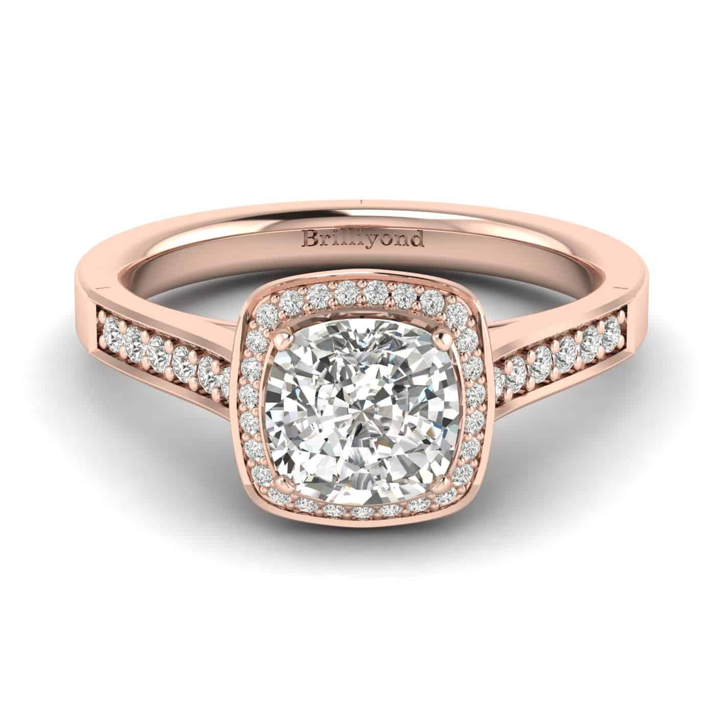 Diamond Rose Gold Cushion Cut Engagement Ring Arcadia_image2
