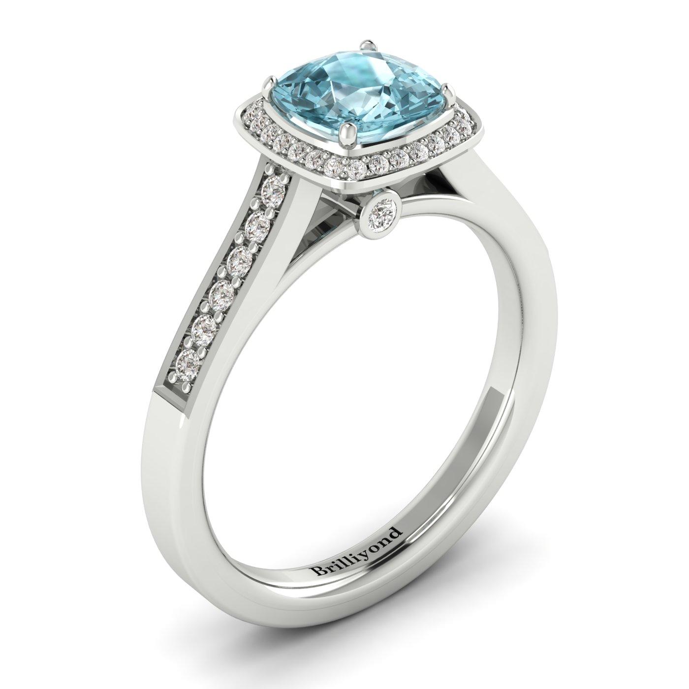 Aquamarine White Gold Cushion Cut Engagement Ring Arcadia_image1