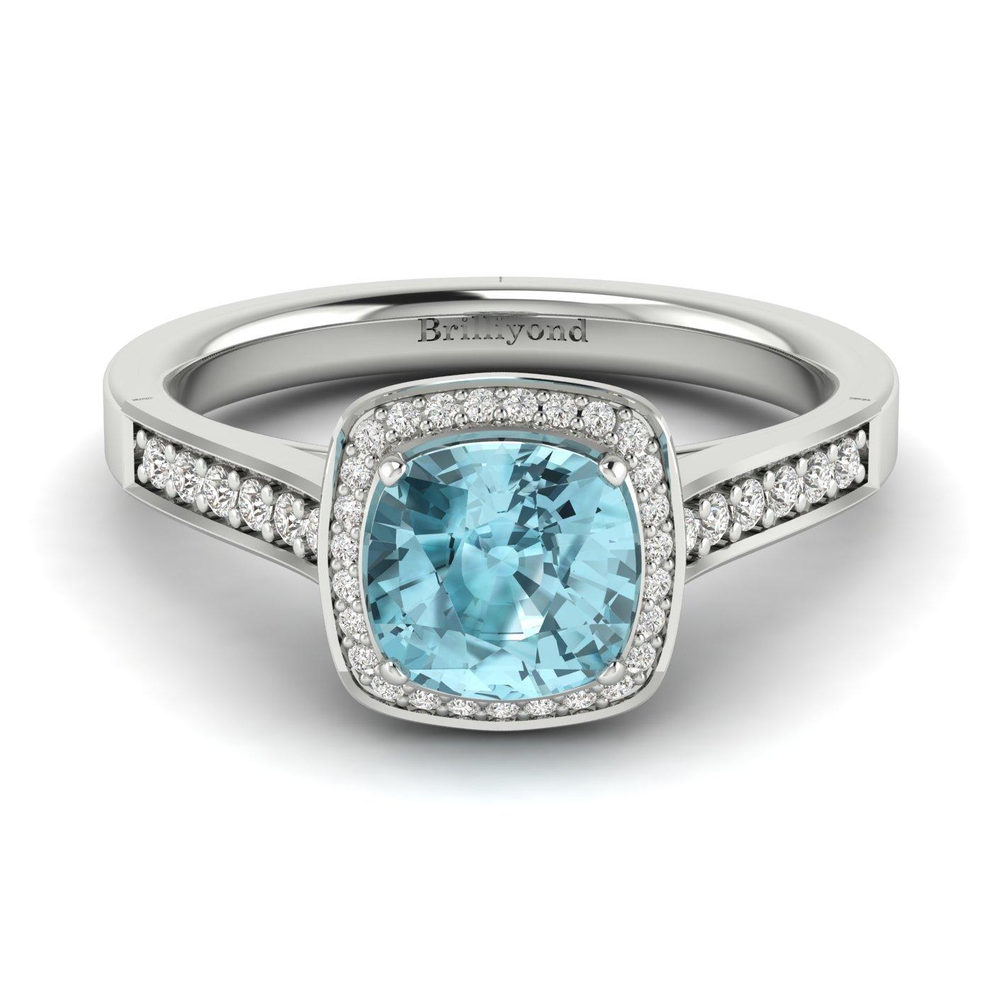 Aquamarine White Gold Cushion Cut Engagement Ring Arcadia_image2