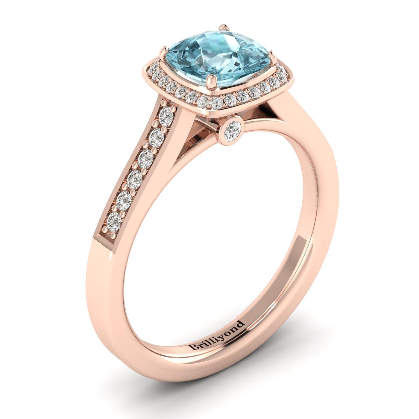 Cushion Cut Engagement Ring Arcadia Aquamarine Rose Gold   _image2