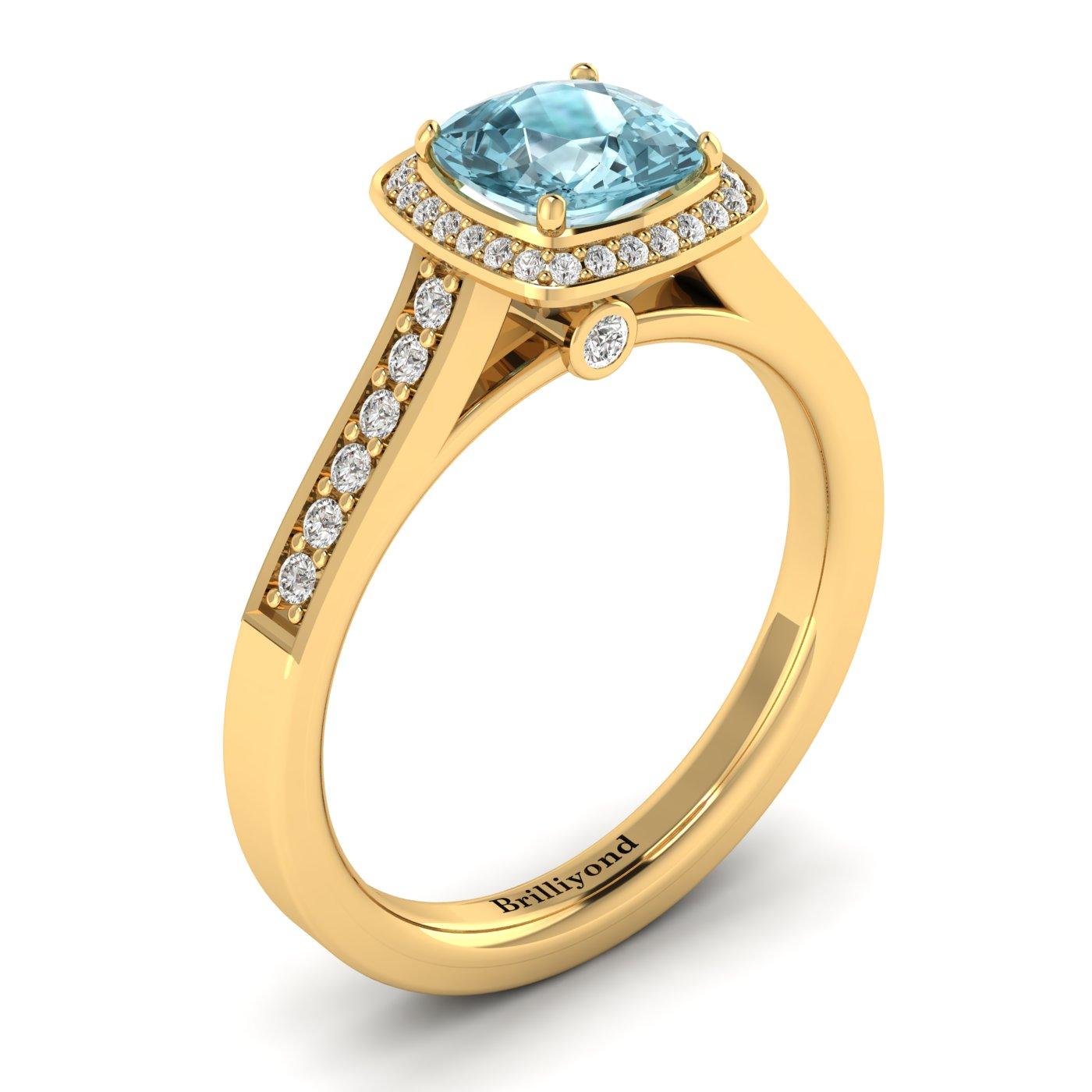 Aquamarine Yellow Gold Cushion Cut Engagement Ring Arcadia_image1