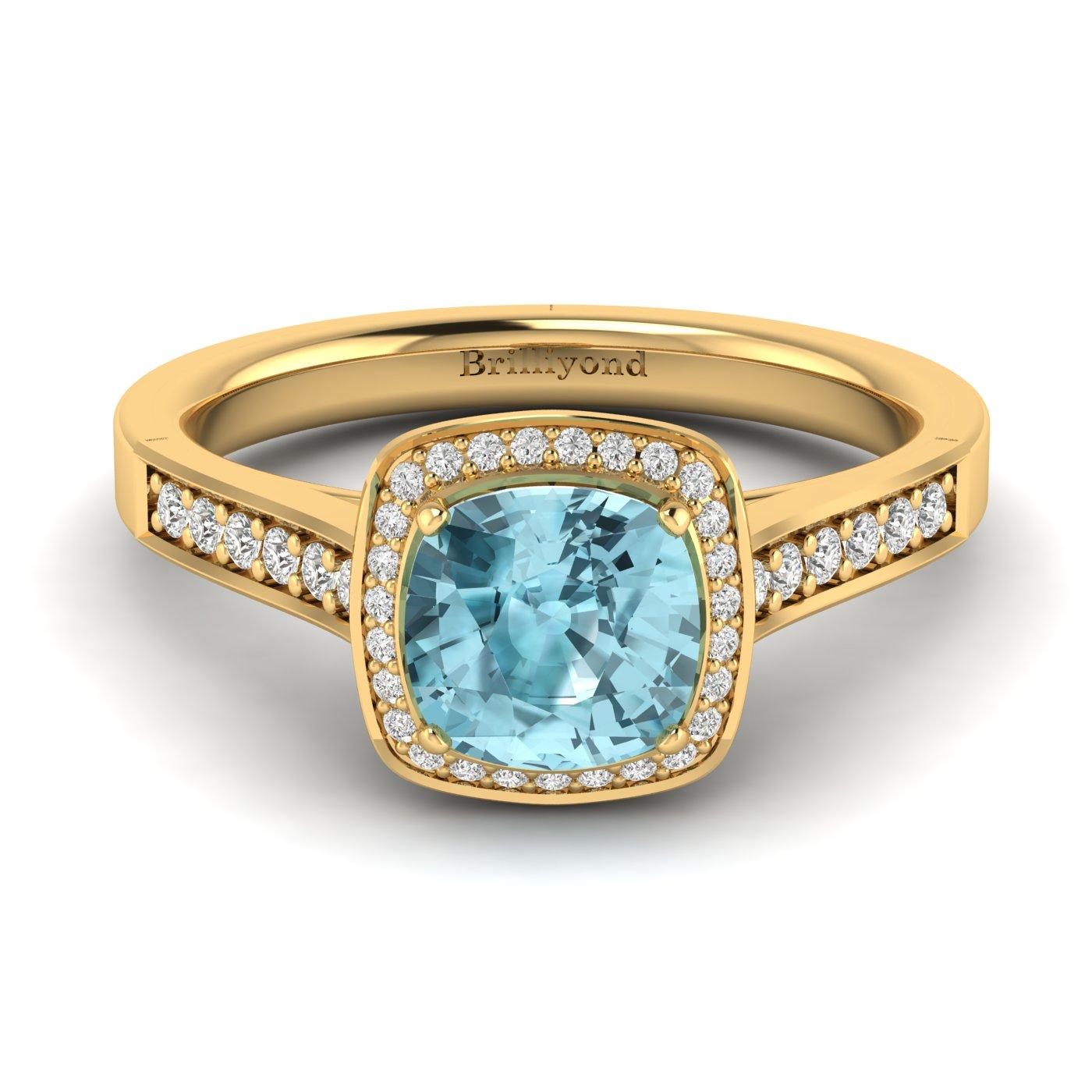 Aquamarine Yellow Gold Cushion Cut Engagement Ring Arcadia_image2