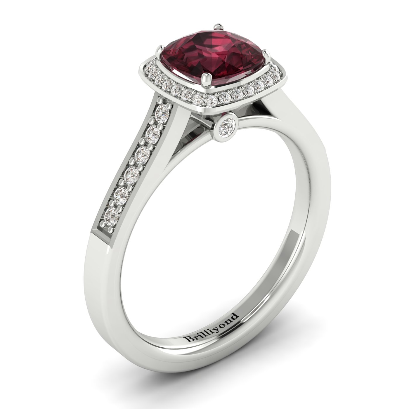 Garnet White Gold Cushion Cut Engagement Ring Arcadia_image1