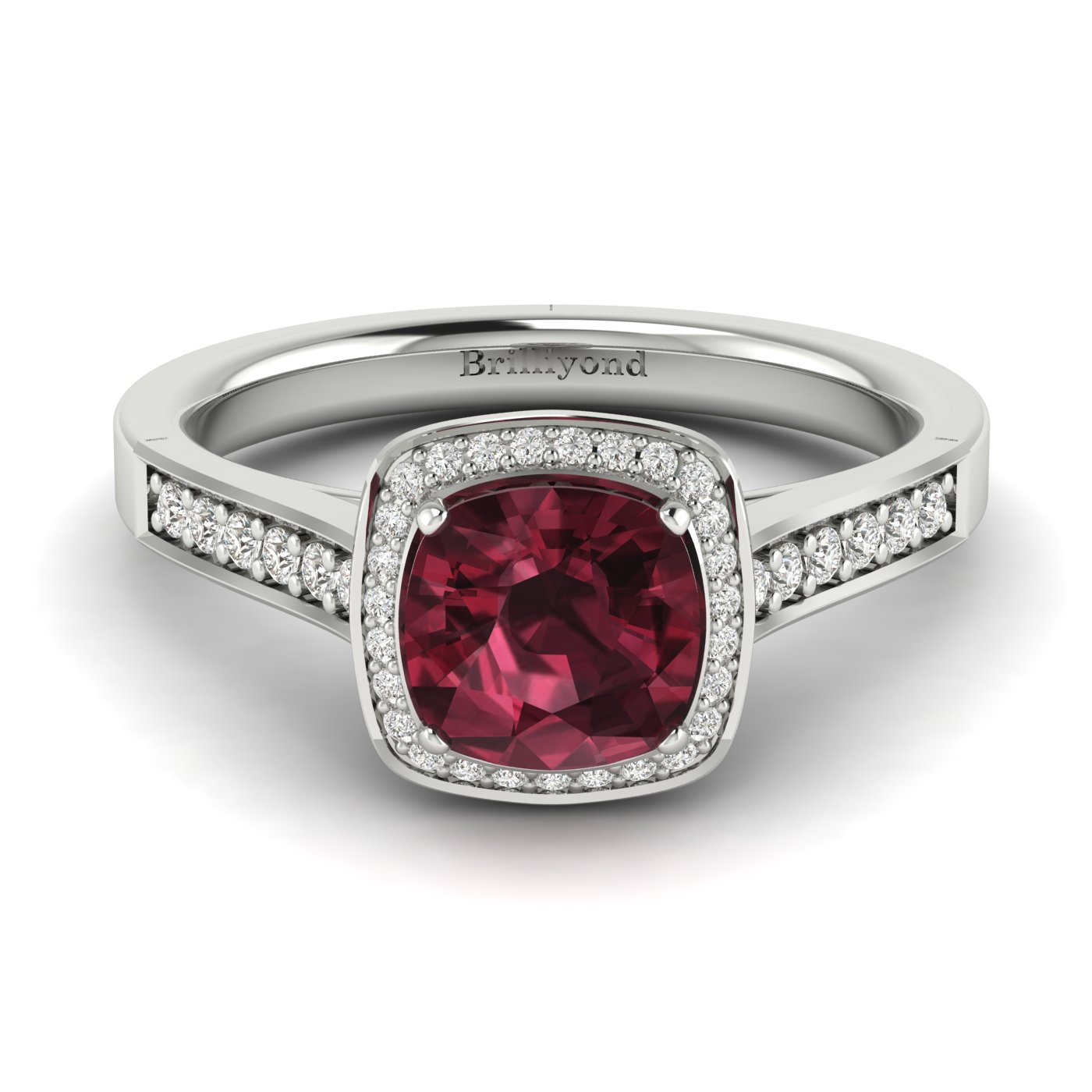 Garnet White Gold Cushion Cut Engagement Ring Arcadia_image2
