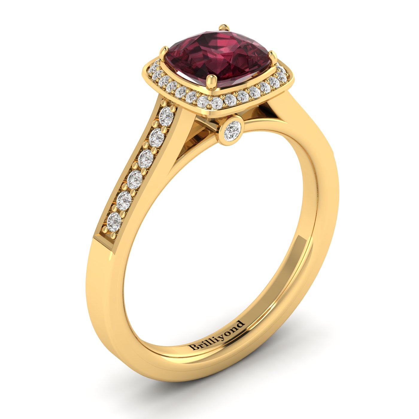 Garnet Yellow Gold Cushion Cut Engagement Ring Arcadia_image1