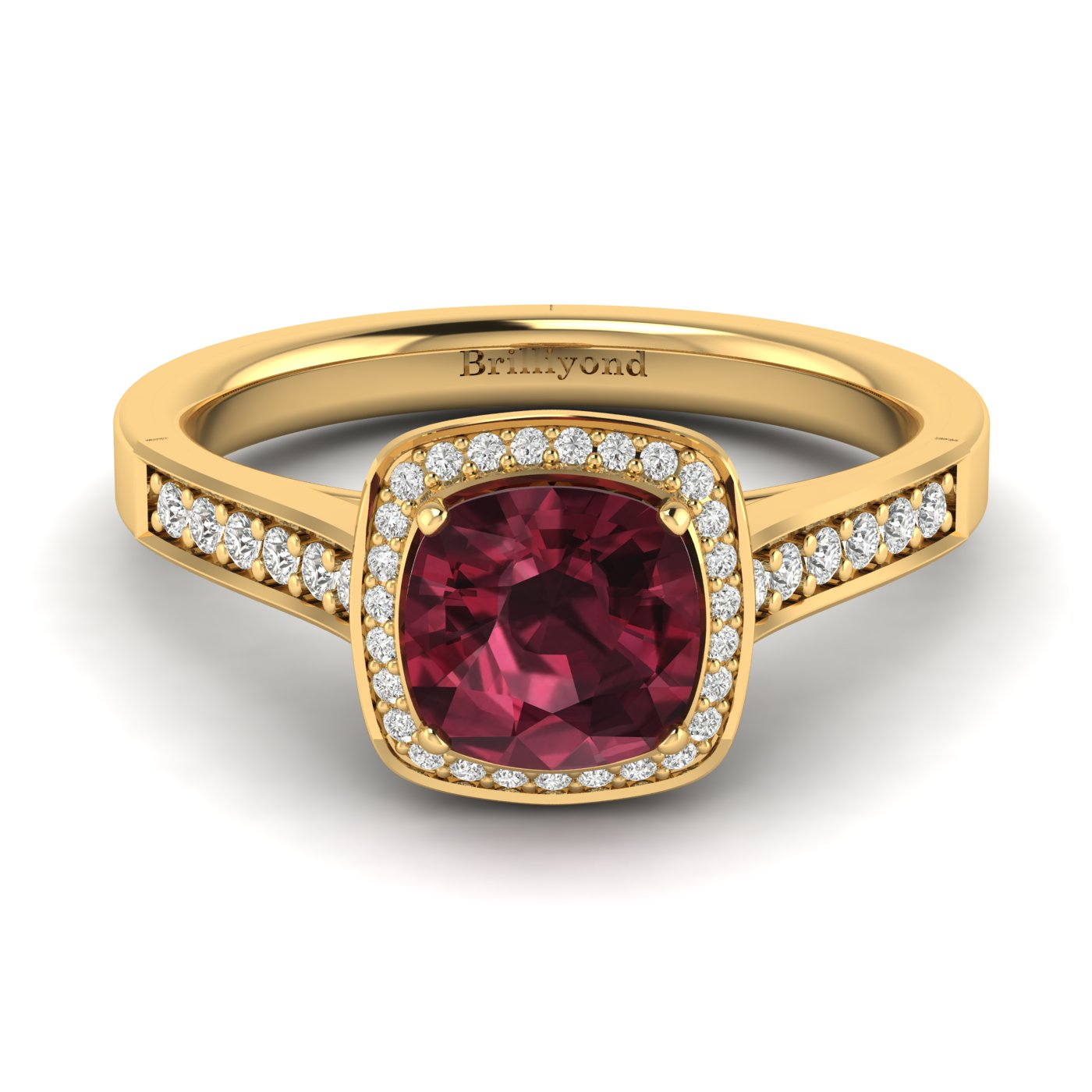 Garnet Yellow Gold Cushion Cut Engagement Ring Arcadia_image2