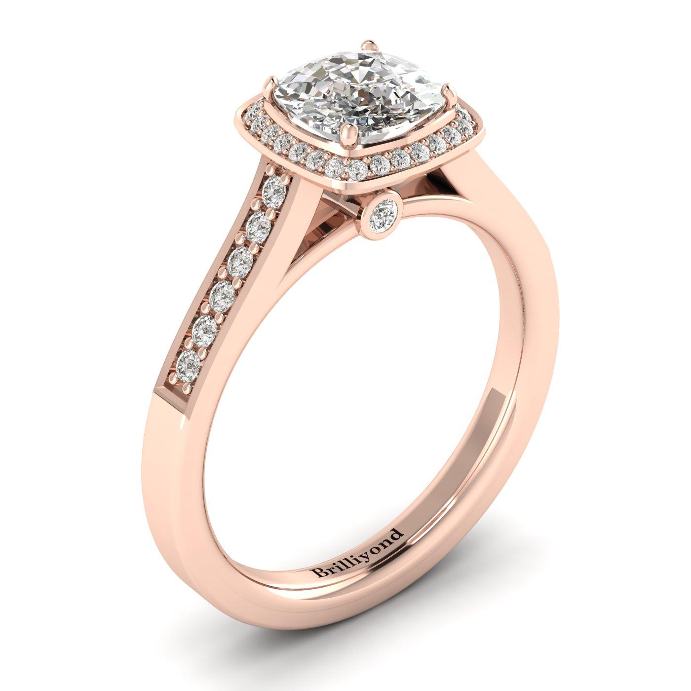 Diamond Accented Cushion Cut White Sapphire Engagement Ring Arcadia