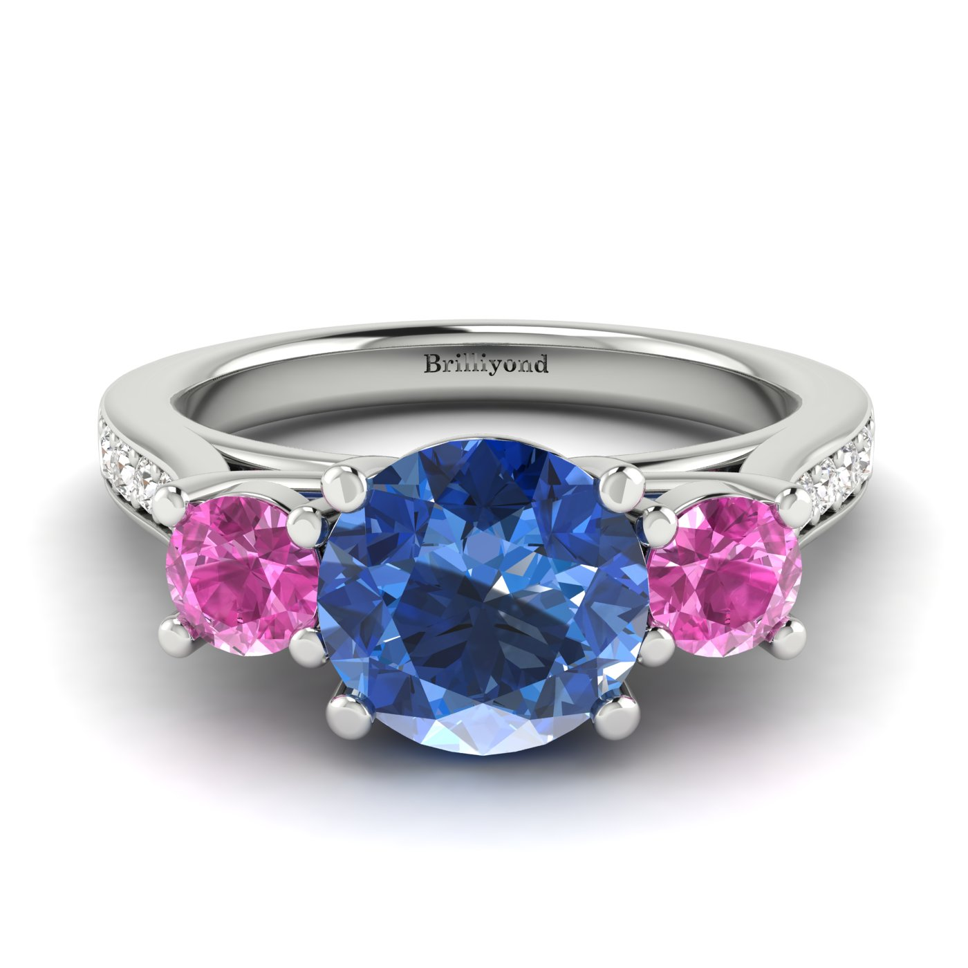 Blue Sapphire White Gold Colour Accented Engagement Ring Paradise_image2