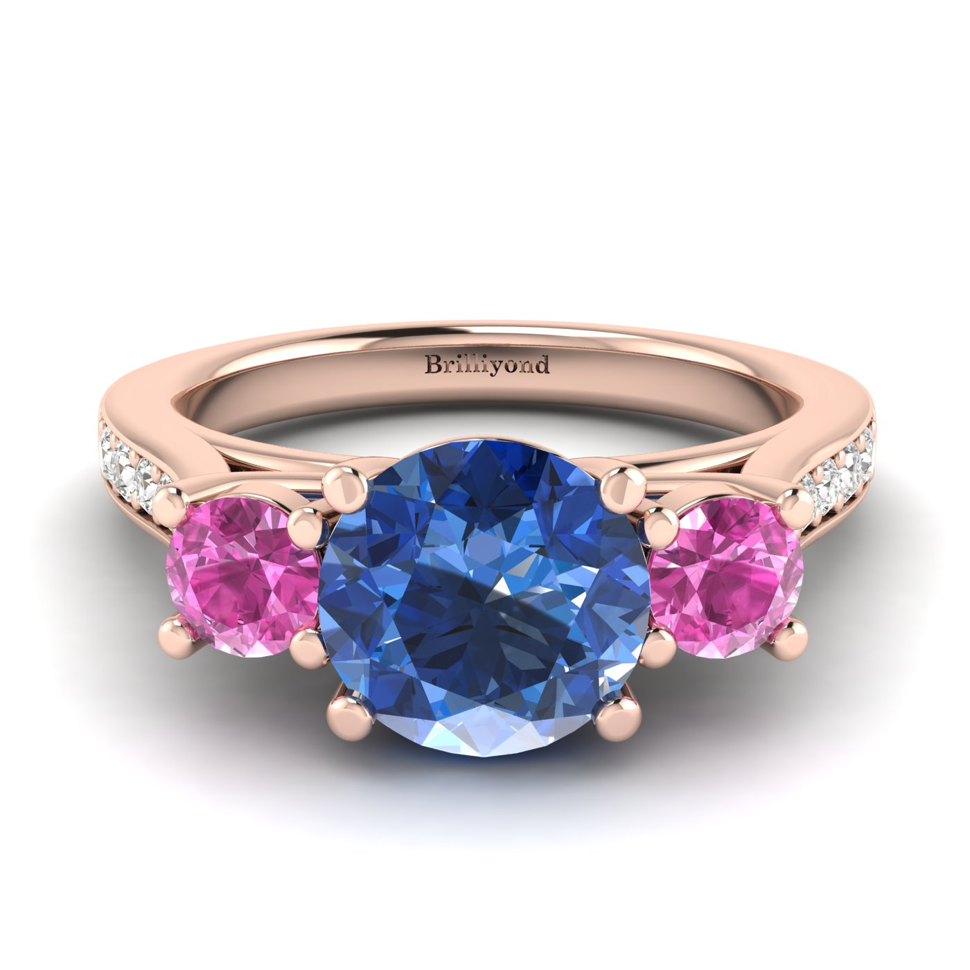 Blue Sapphire Rose Gold Colour Accented Engagement Ring Paradise_image1