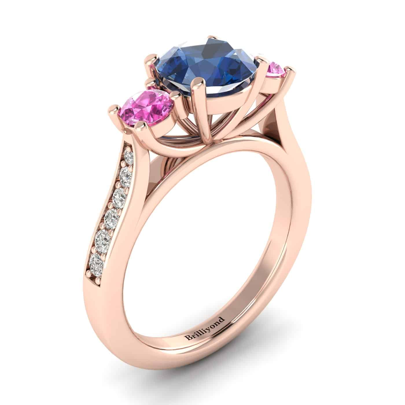 Blue Sapphire Rose Gold Colour Accented Engagement Ring Paradise_image2