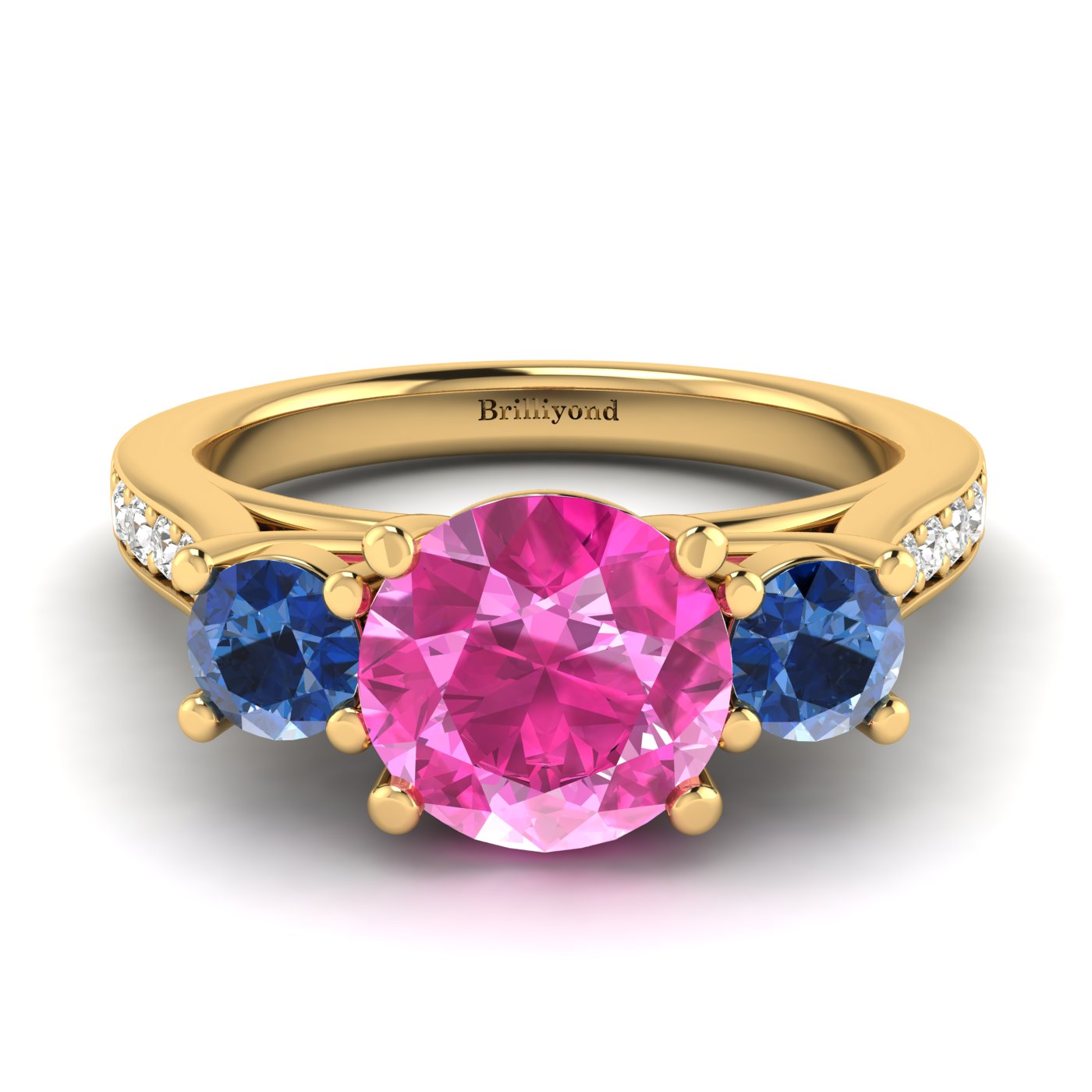 Blue and Pink Sapphires Set on Solid 18k Yellow Gold Band