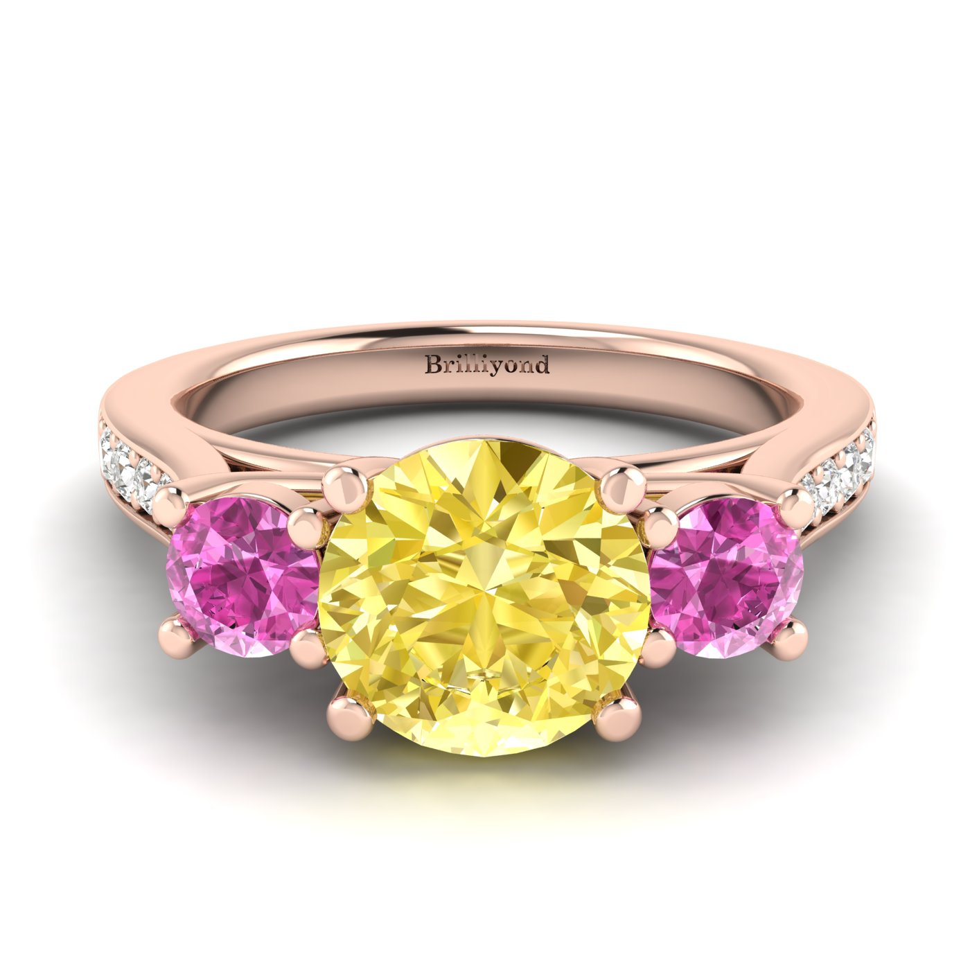 Yellow Sapphire Rose Gold Colour Accented Engagement Ring Paradise_image1