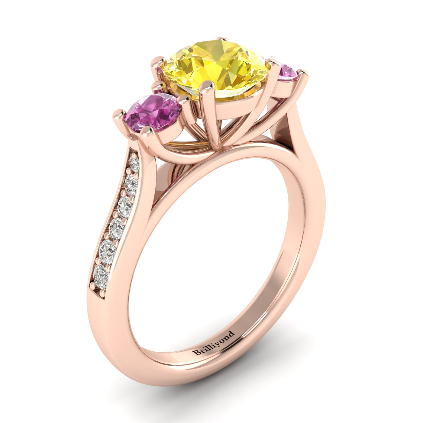 Yellow Sapphire Rose Gold Colour Accented Engagement Ring Paradise_image2