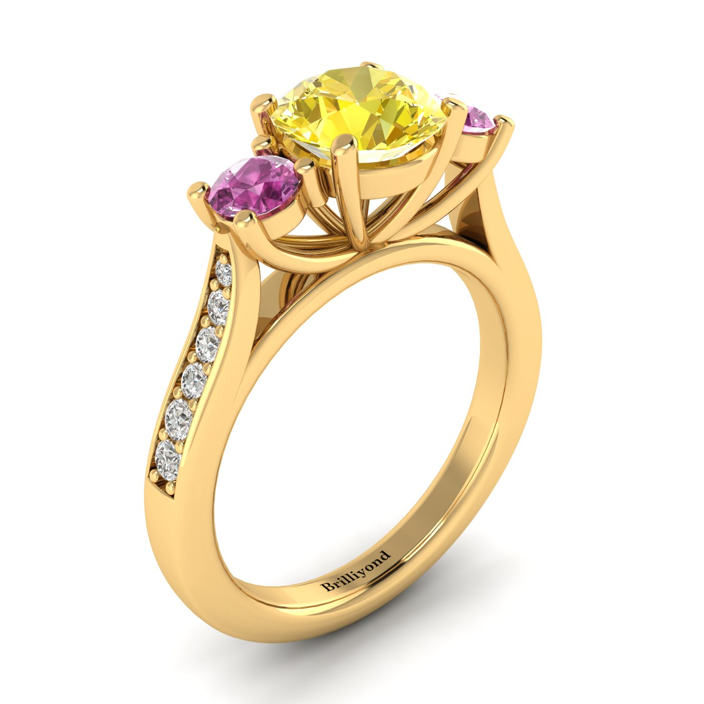 Yellow Sapphire Yellow Gold Colour Accented Engagement Ring Paradise_image1