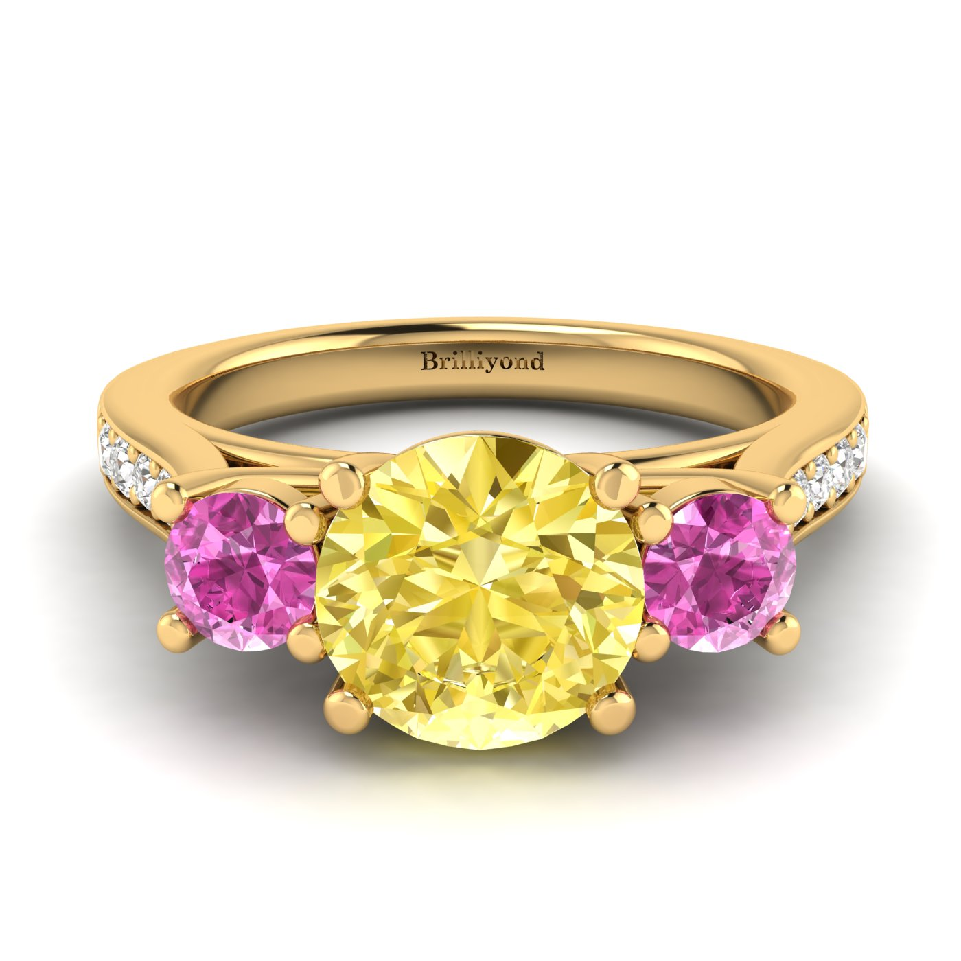 Yellow Sapphire Yellow Gold Colour Accented Engagement Ring Paradise_image2