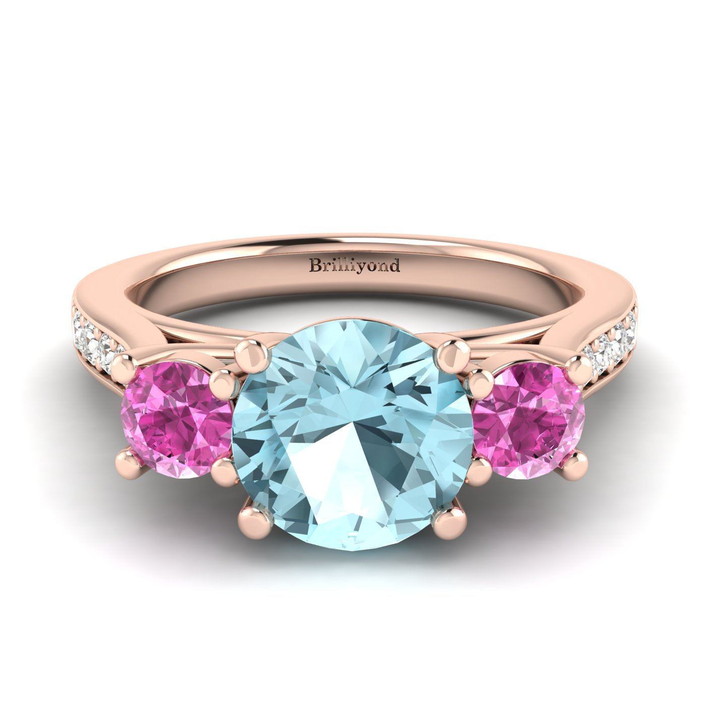 Aquamarine Rose Gold Colour Accented Engagement Ring Paradise_image1