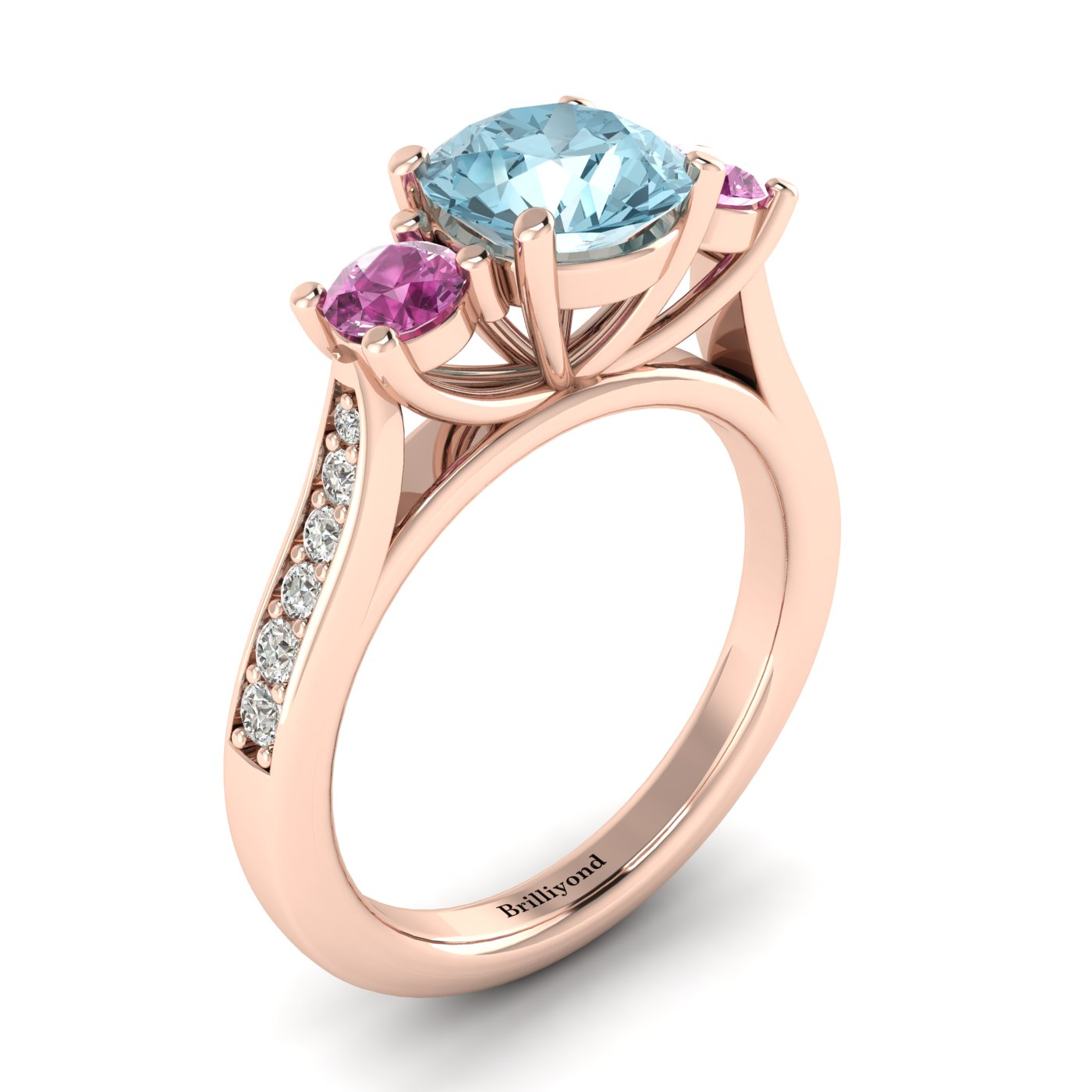 Aquamarine Rose Gold Colour Accented Engagement Ring Paradise_image2