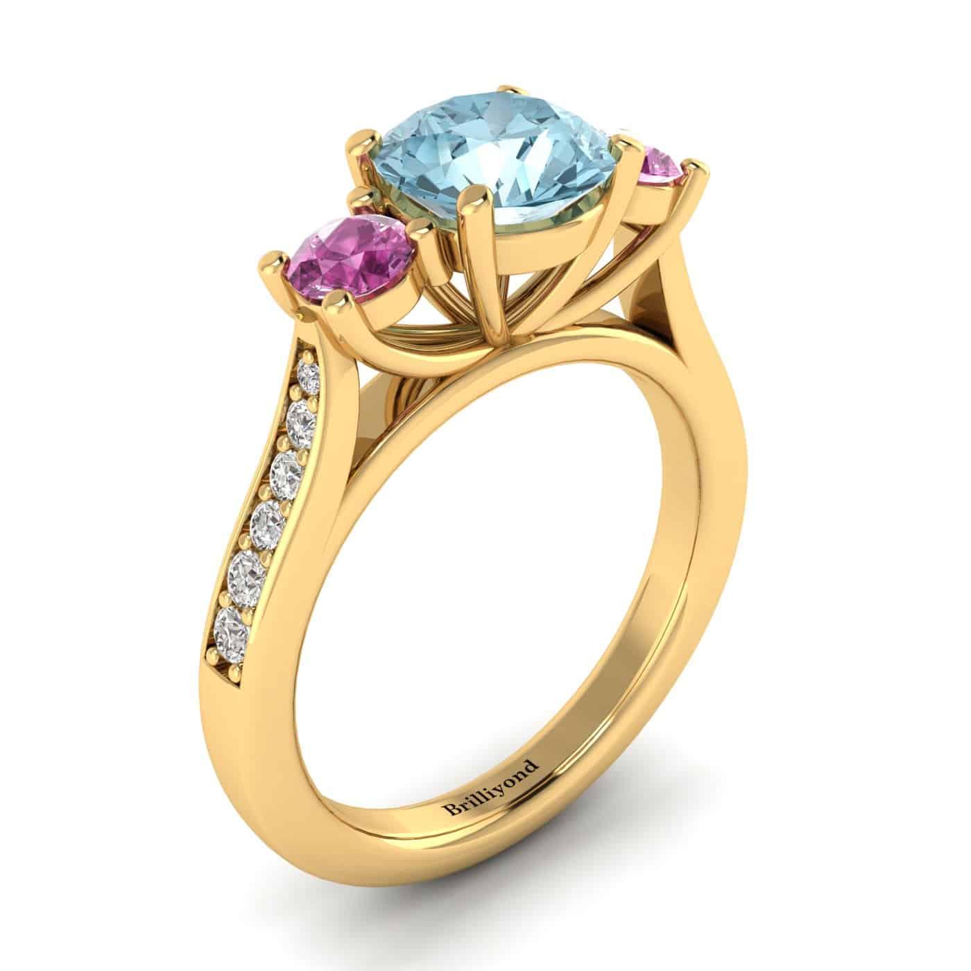 Aquamarine Yellow Gold Colour Accented Engagement Ring Paradise_image1