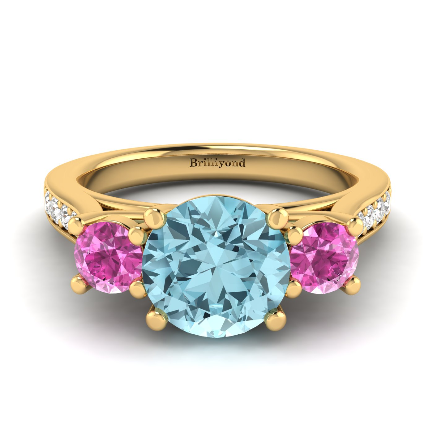 Aquamarine Yellow Gold Colour Accented Engagement Ring Paradise_image2