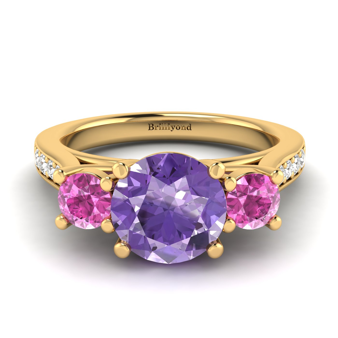 Amethyst Yellow Gold Colour Accented Engagement Ring Paradise_image1