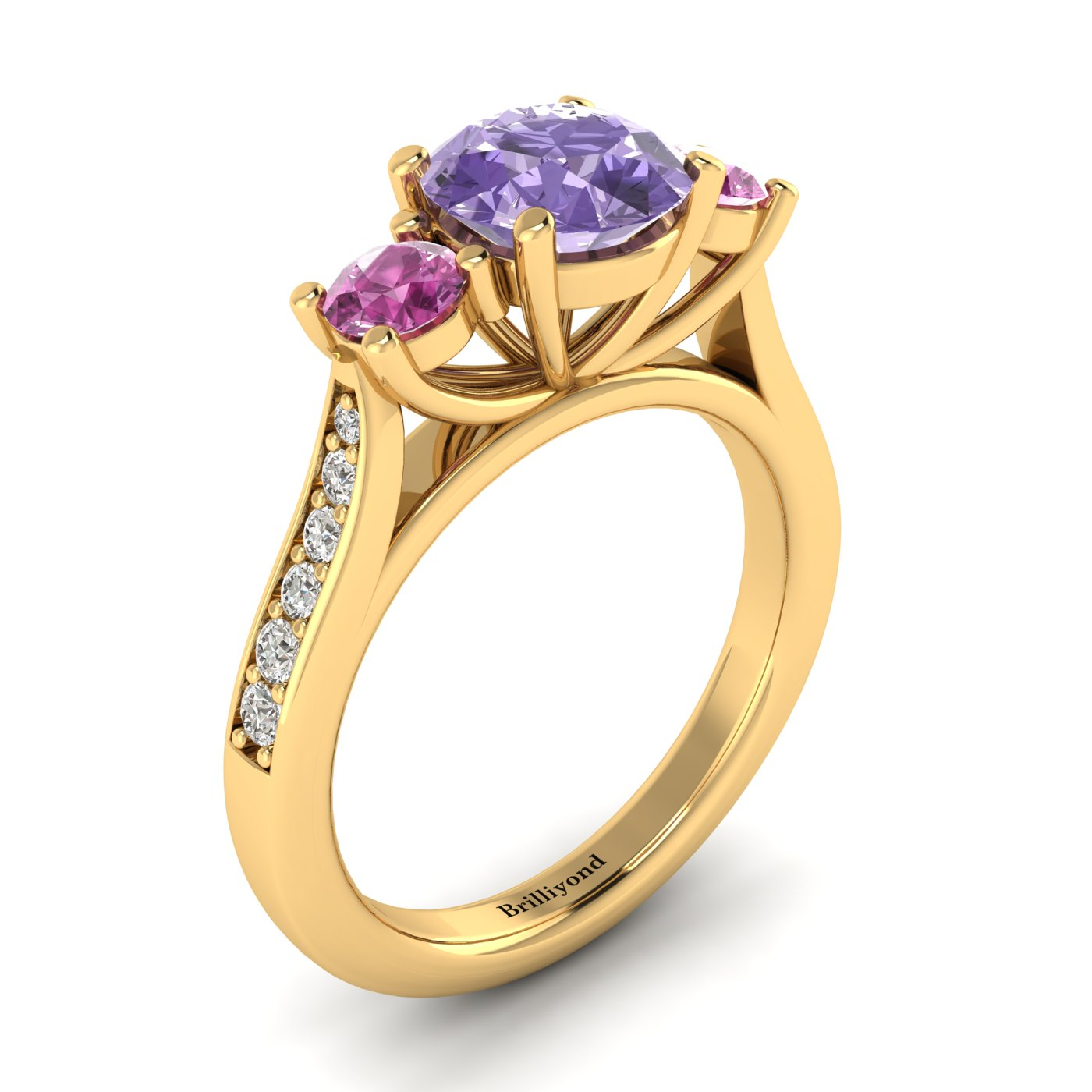 Amethyst Yellow Gold Colour Accented Engagement Ring Paradise_image2