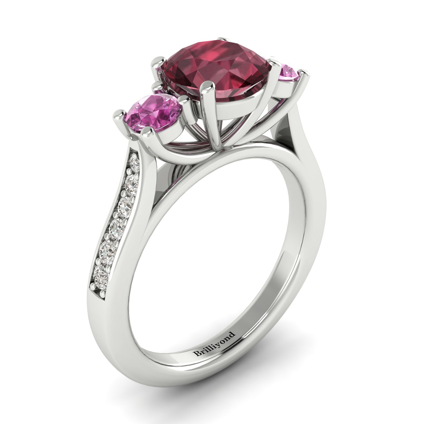 Garnet White Gold Colour Accented Engagement Ring Paradise_image1