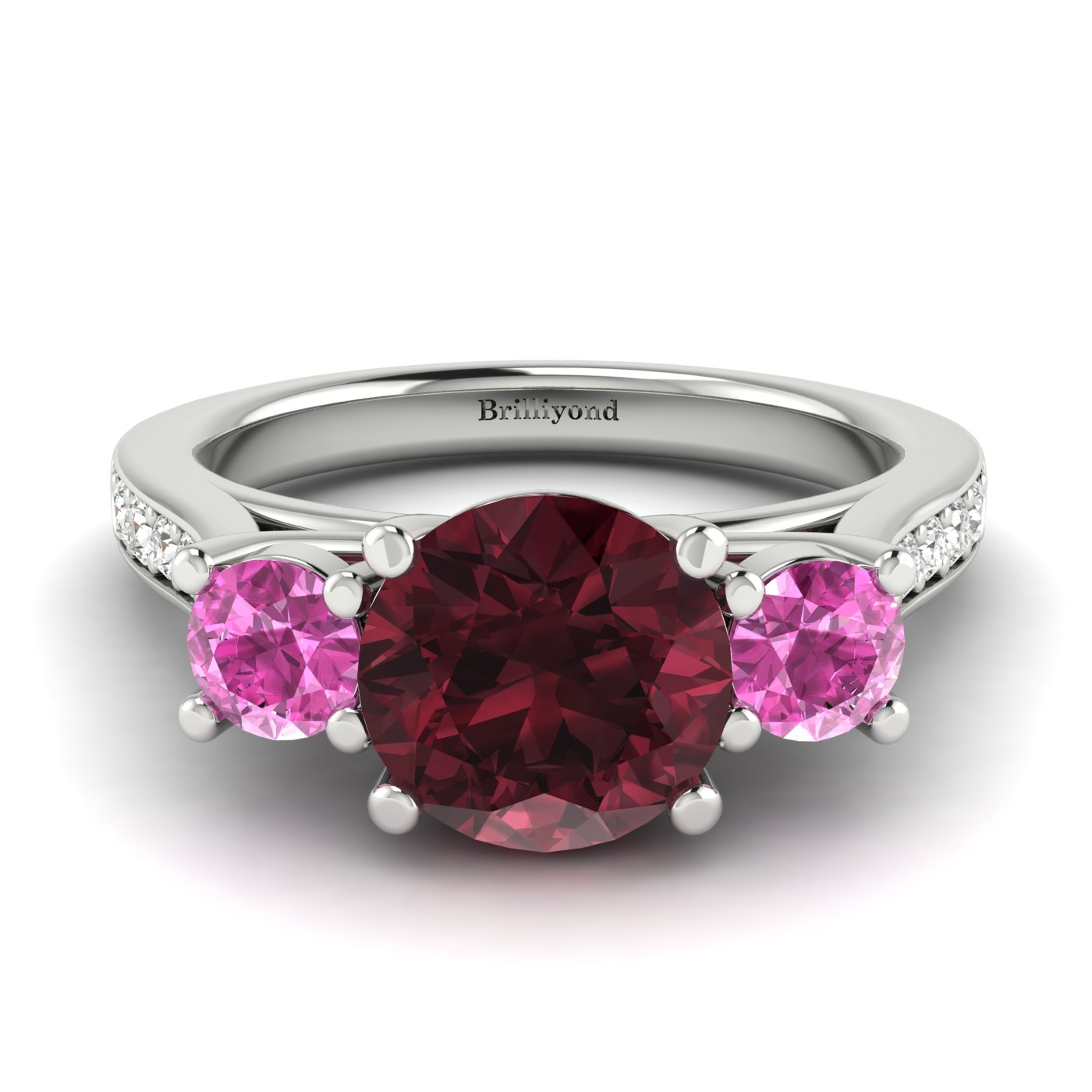 Garnet White Gold Colour Accented Engagement Ring Paradise_image2