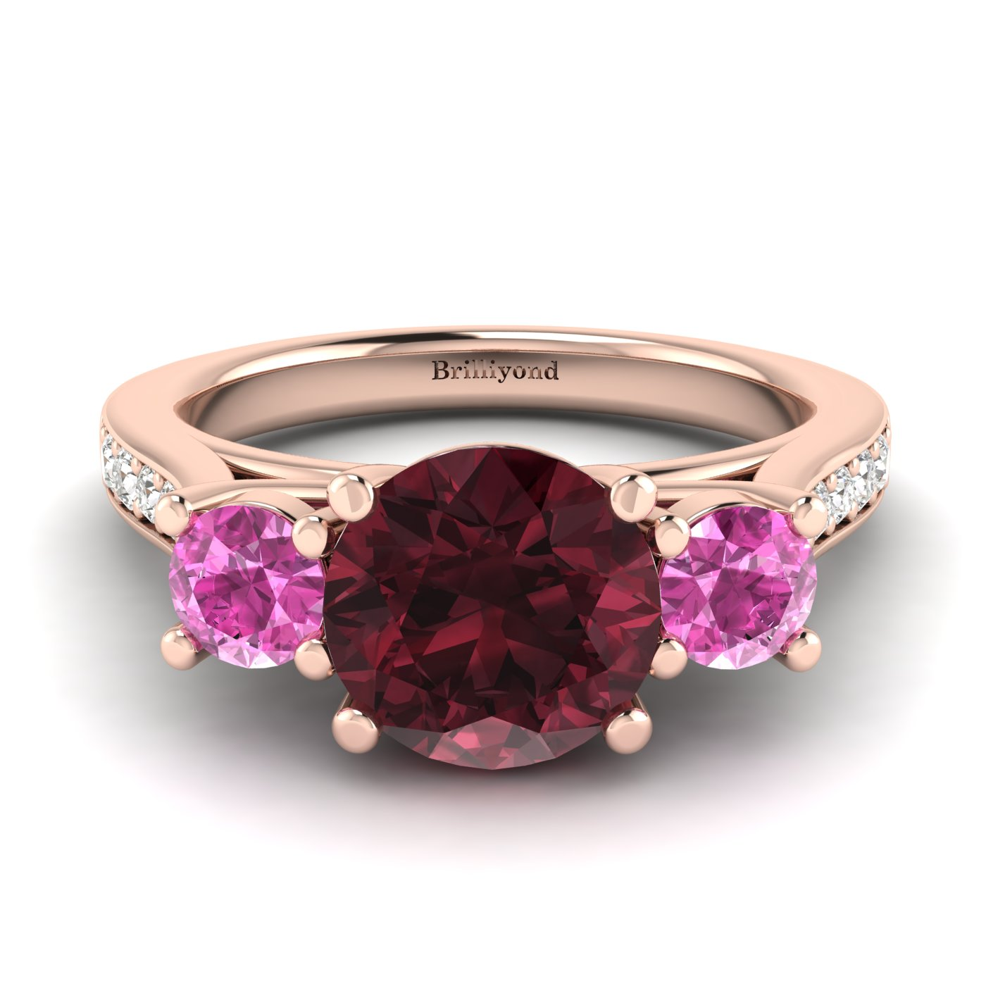 Garnet Rose Gold Colour Accented Engagement Ring Paradise_image1
