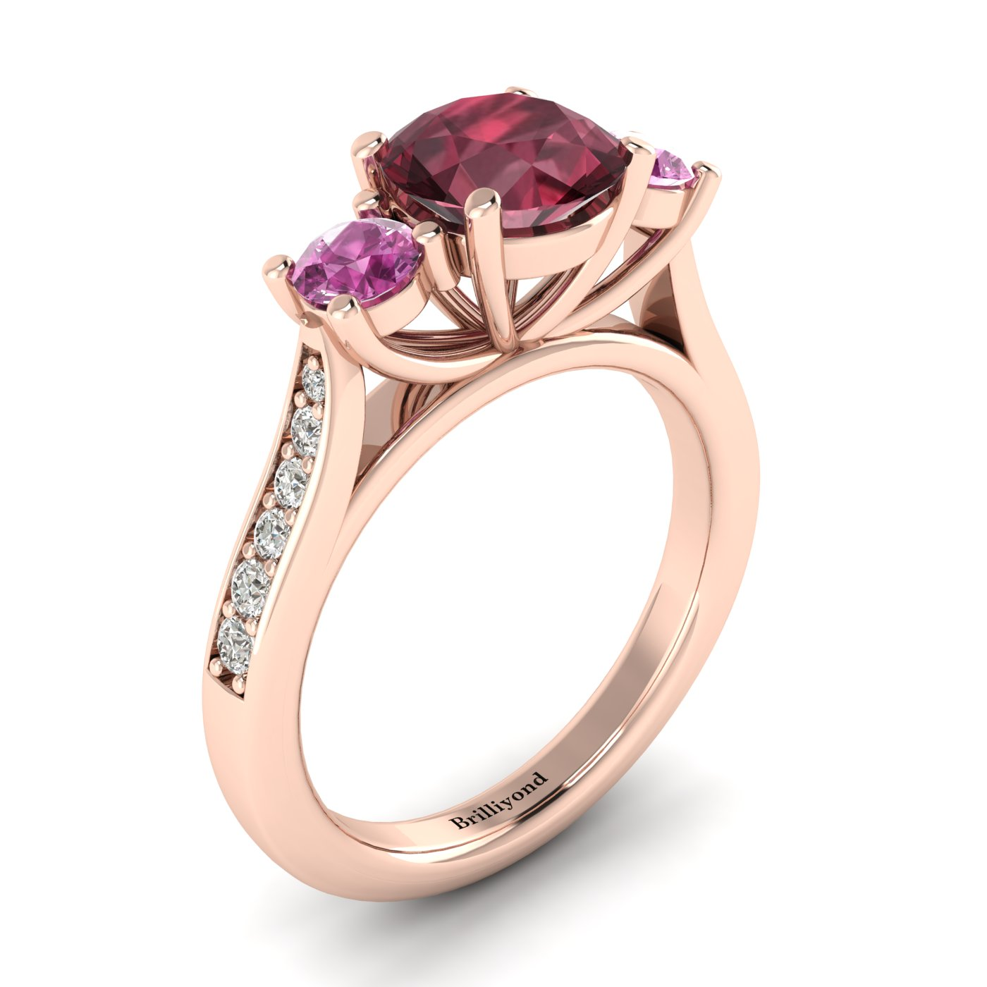 Garnet Rose Gold Colour Accented Engagement Ring Paradise_image2