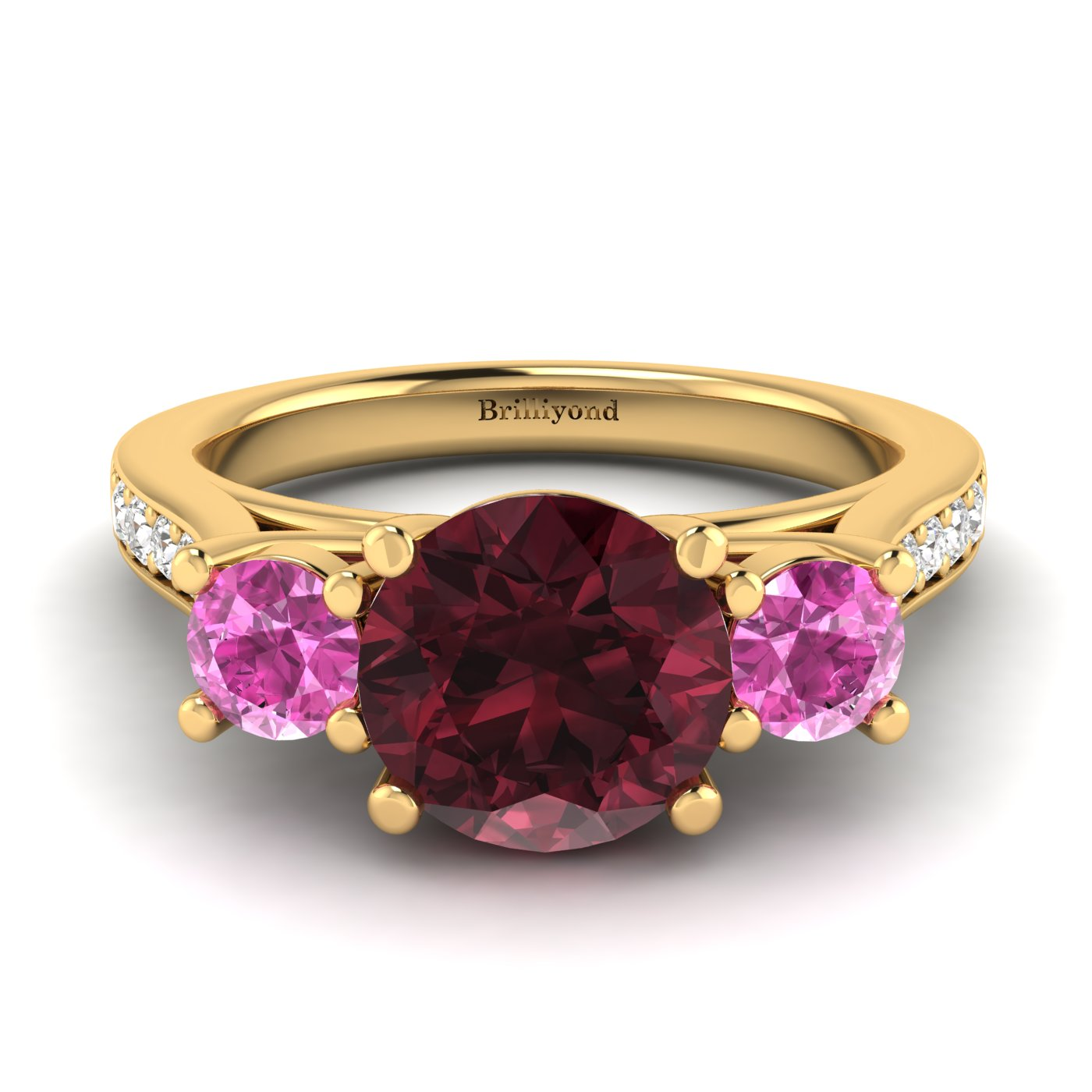 Garnet Yellow Gold Colour Accented Engagement Ring Paradise_image1