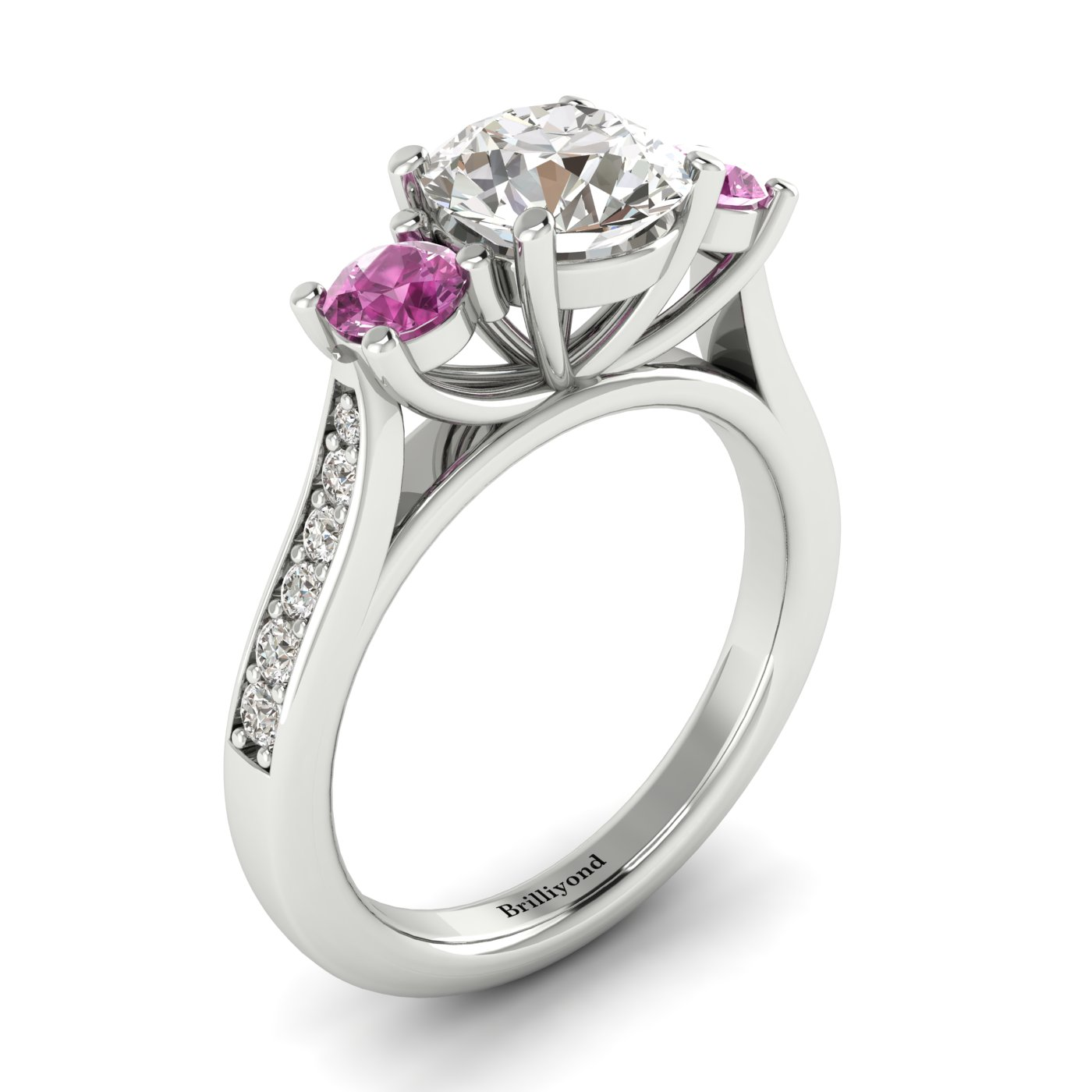 White Sapphire White Gold Colour Accented Engagement Ring Paradise_image1