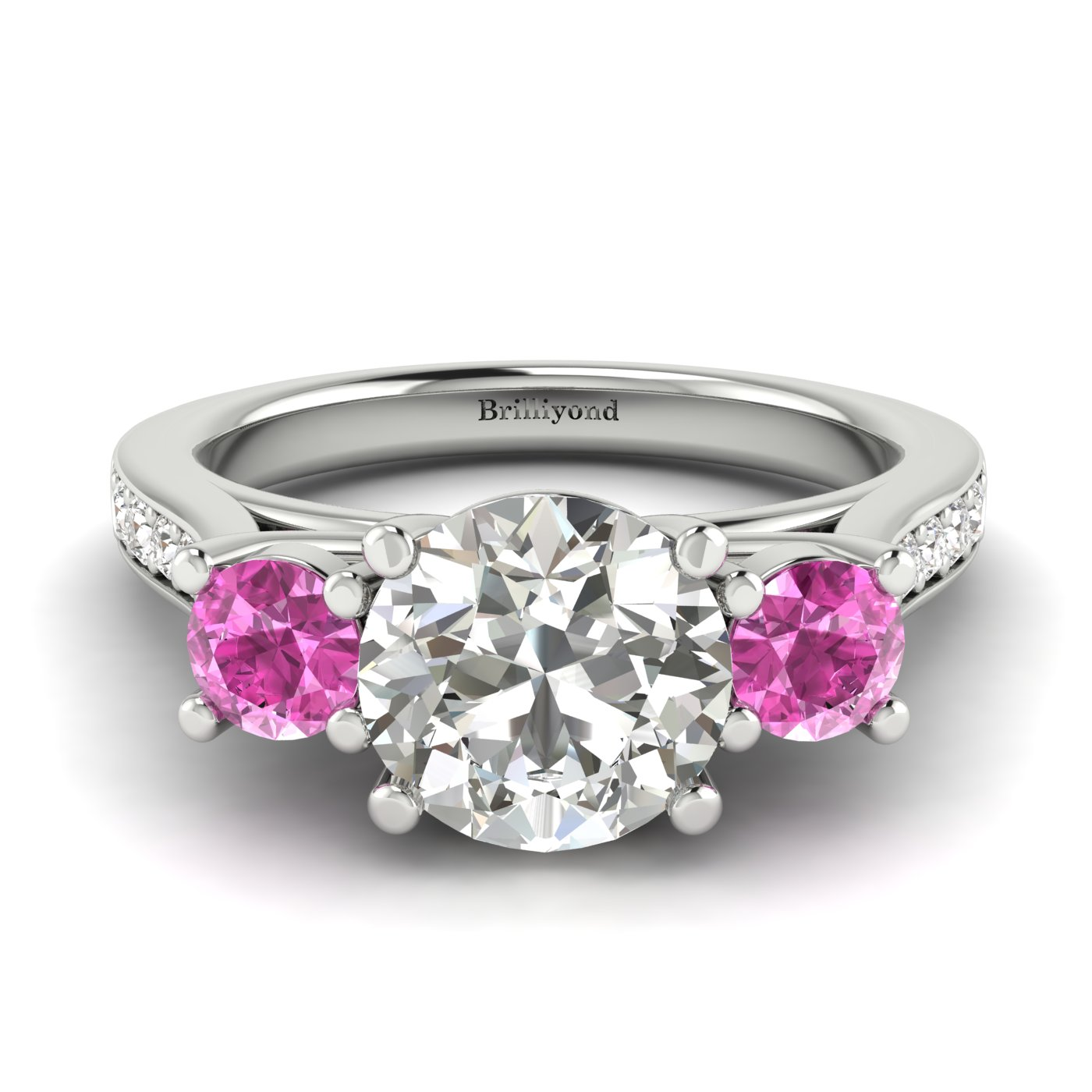 White Sapphire White Gold Colour Accented Engagement Ring Paradise_image2
