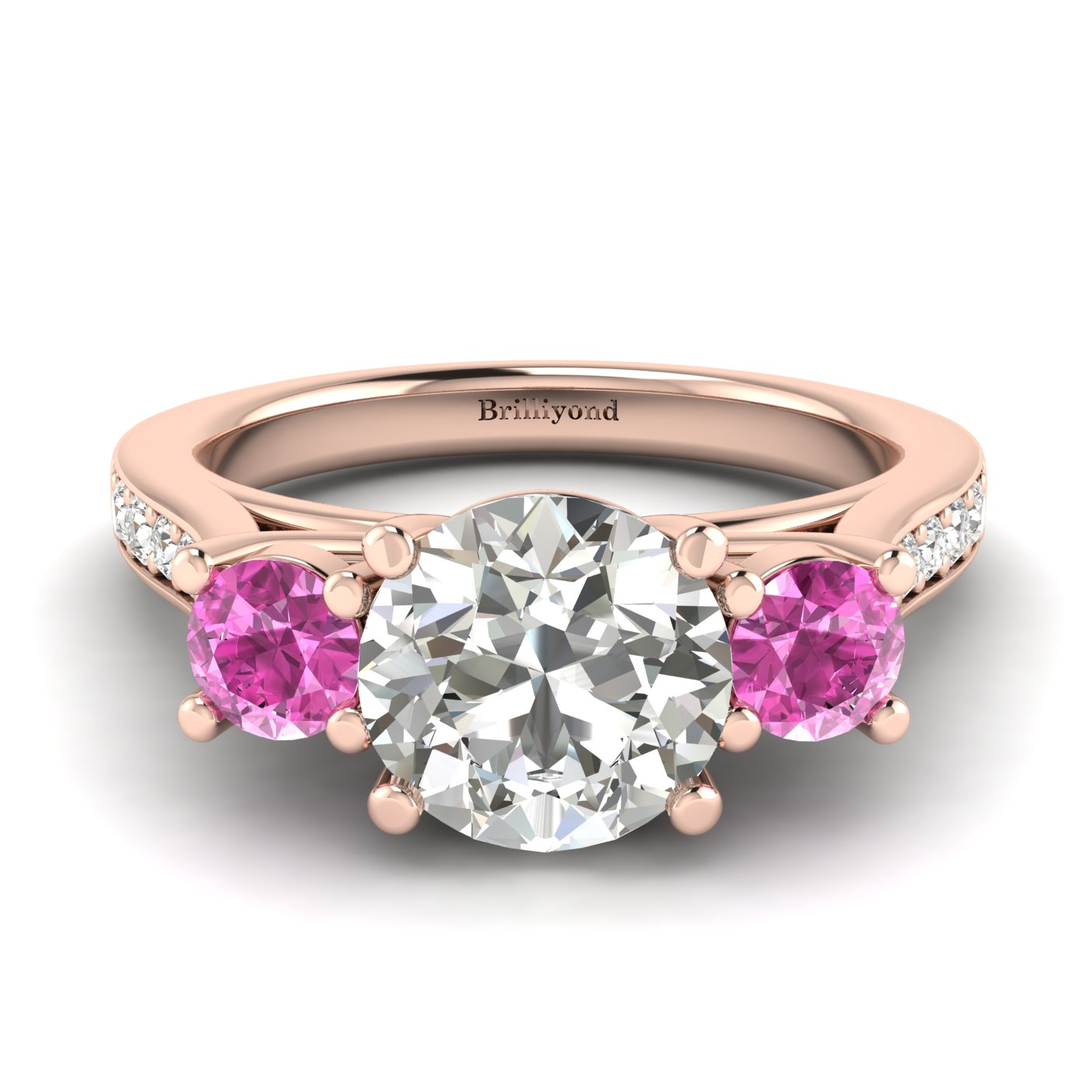 White Sapphire Rose Gold Colour Accented Engagement Ring Paradise_image1