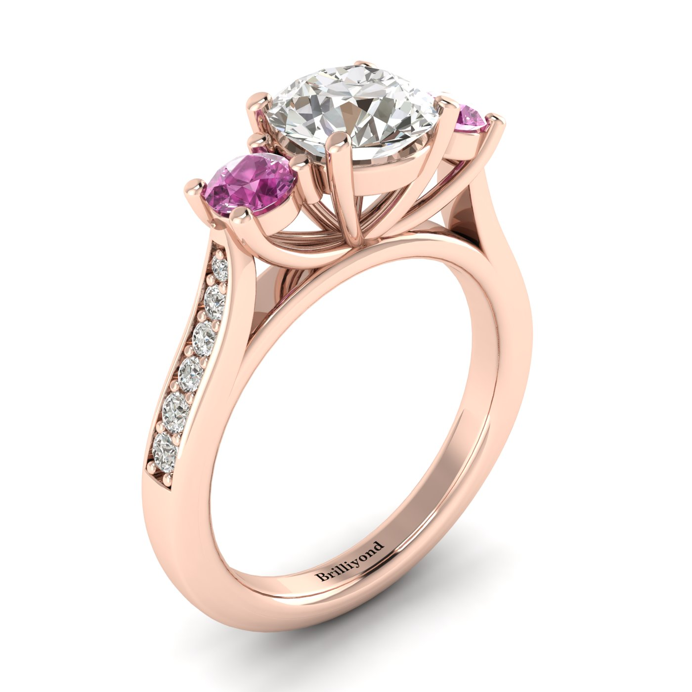 White Sapphire Rose Gold Colour Accented Engagement Ring Paradise_image2