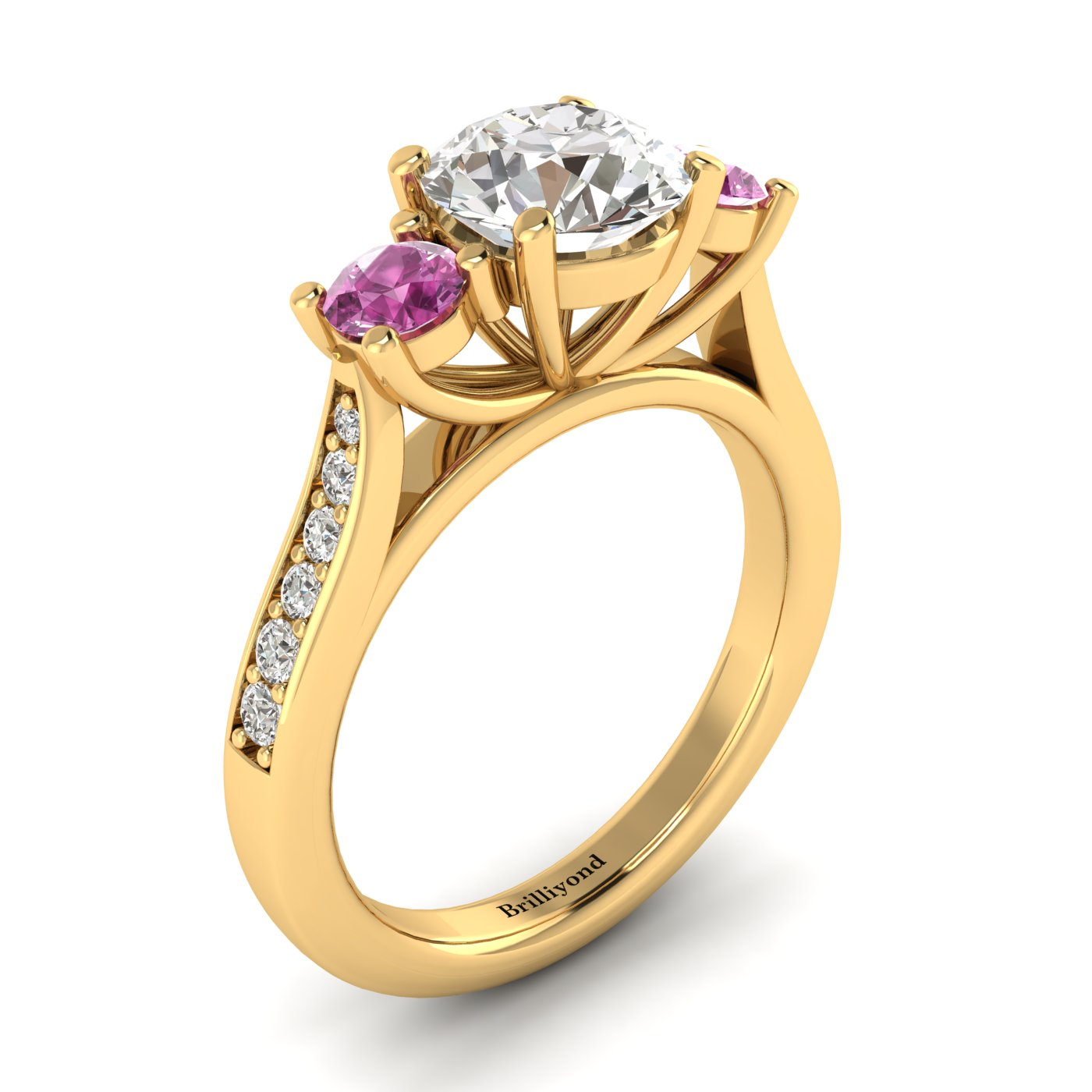 White Sapphire Yellow Gold Colour Accented Engagement Ring Paradise_image1