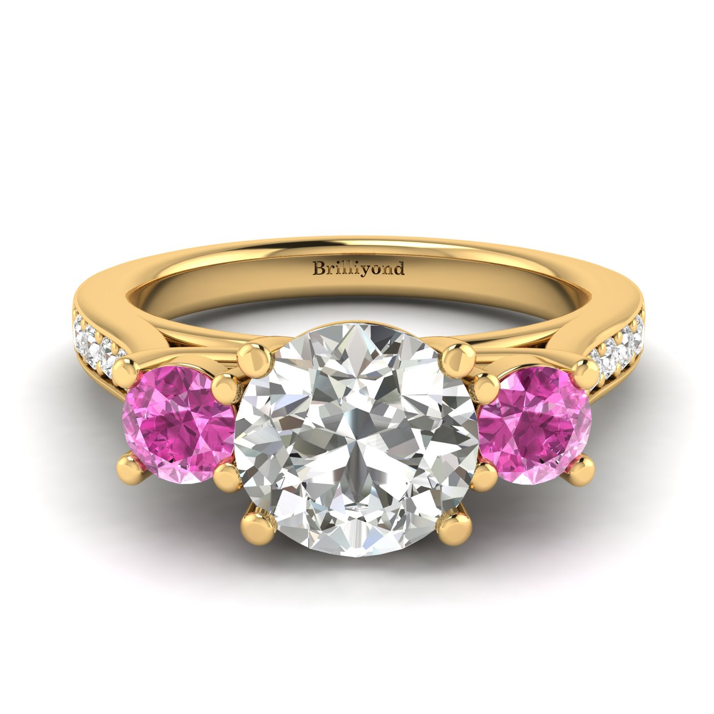 White Sapphire Yellow Gold Colour Accented Engagement Ring Paradise_image2