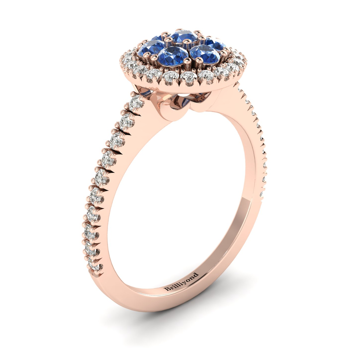 Blue Sapphire Rose Gold Cluster Engagement Ring Lantana_image1