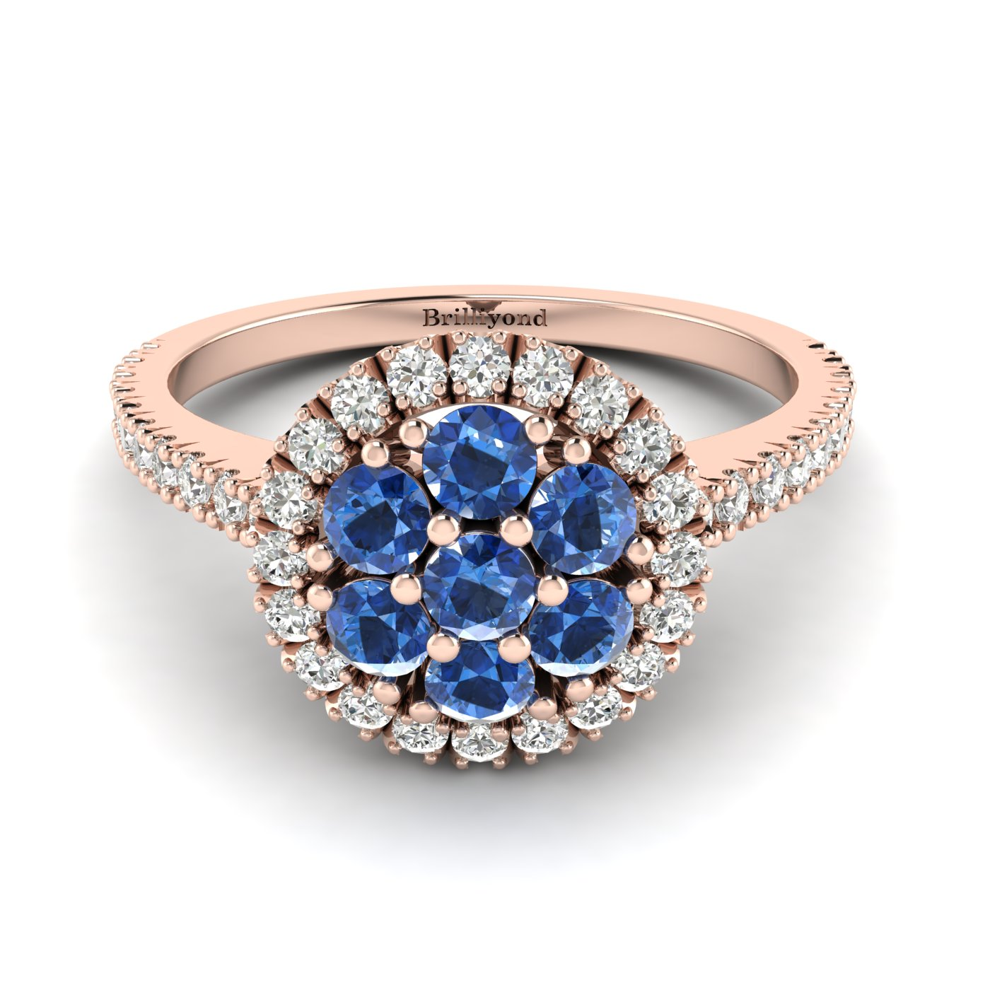 Blue Sapphire Rose Gold Cluster Engagement Ring Lantana_image2