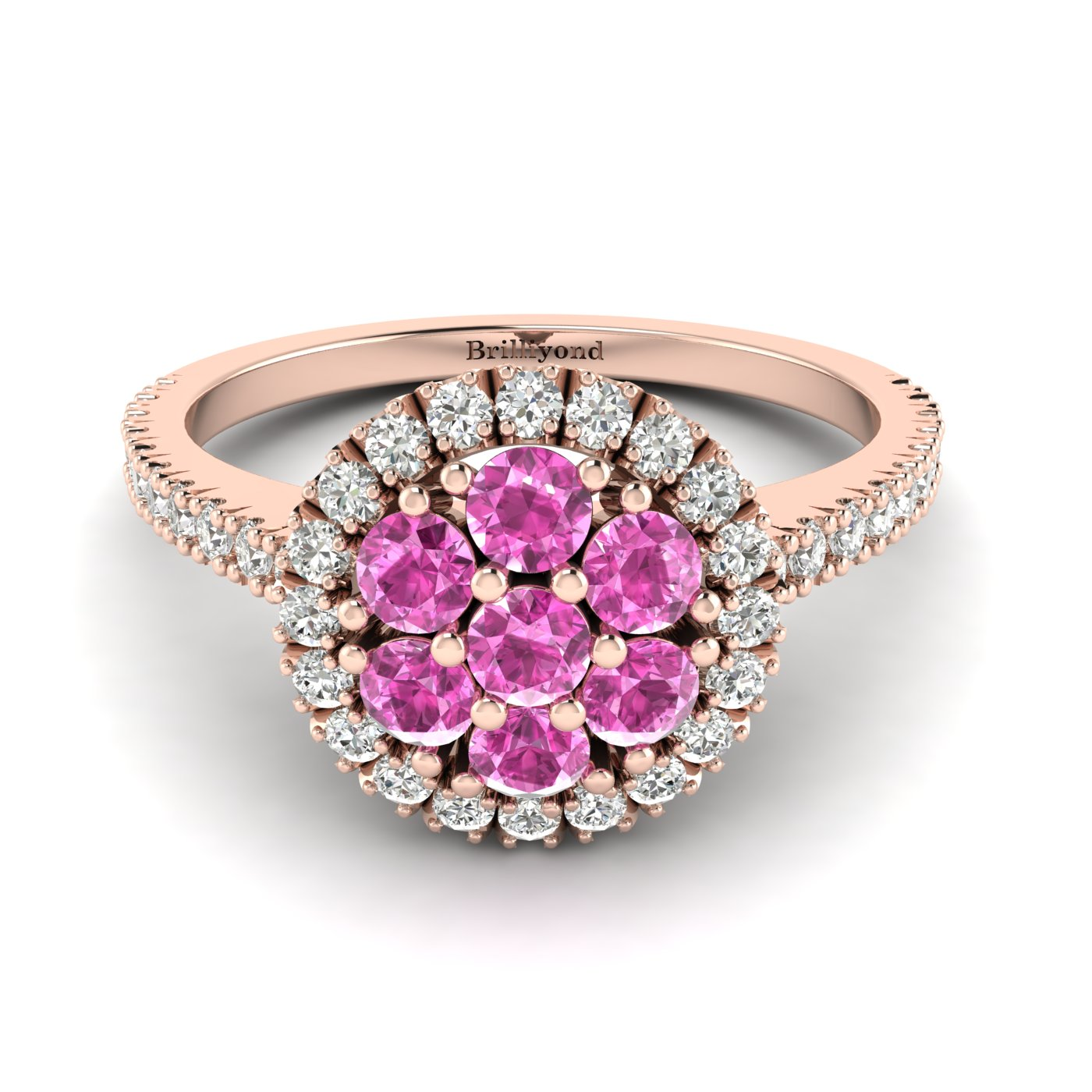 Pink Sapphire Rose Gold Cluster Engagement Ring Lantana_image1