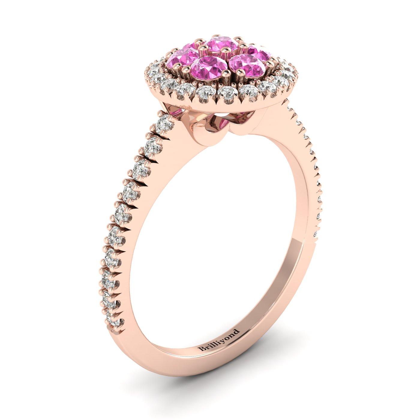 Pink Sapphire Rose Gold Cluster Engagement Ring Lantana_image2
