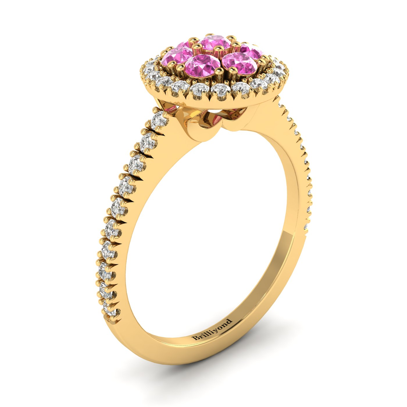Pink Sapphire Yellow Gold Cluster Engagement Ring Lantana_image1