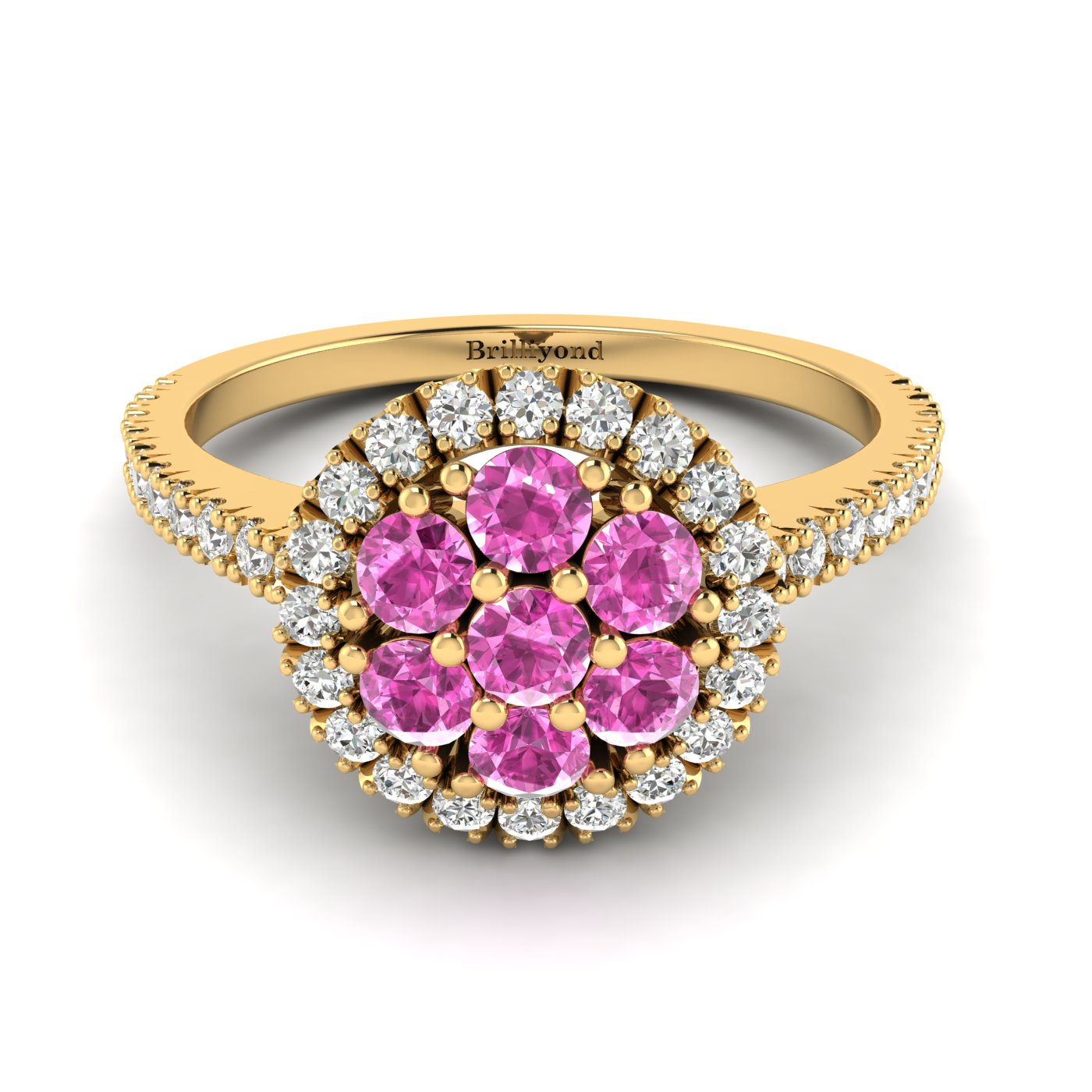 Pink Sapphire Yellow Gold Cluster Engagement Ring Lantana_image2