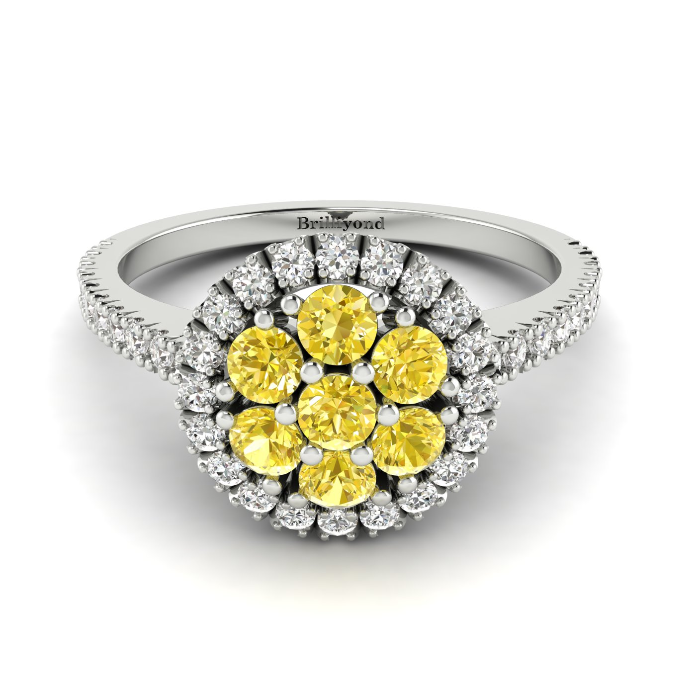 Yellow Sapphire White Gold Cluster Engagement Ring Lantana_image1