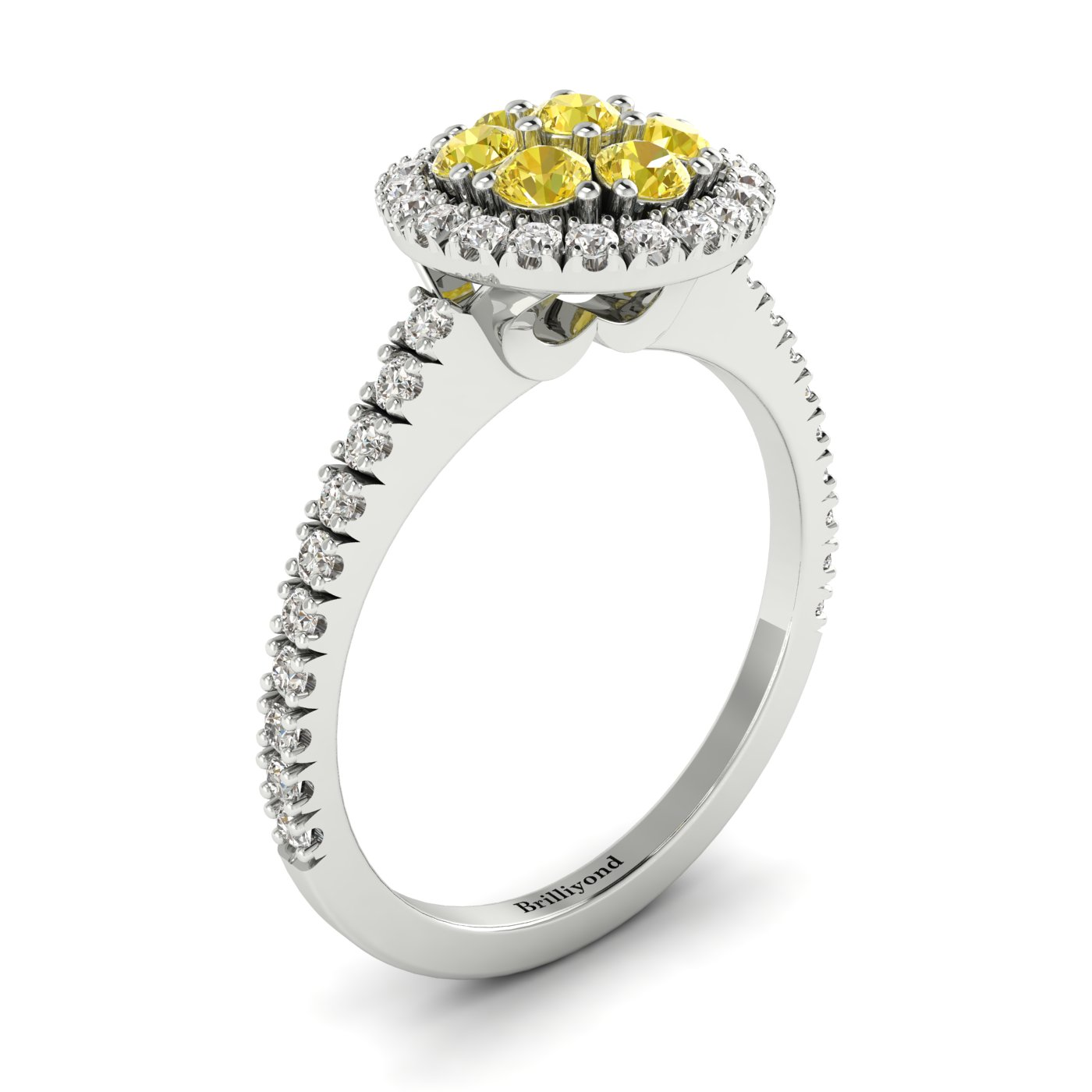 Yellow Sapphire White Gold Cluster Engagement Ring Lantana_image2