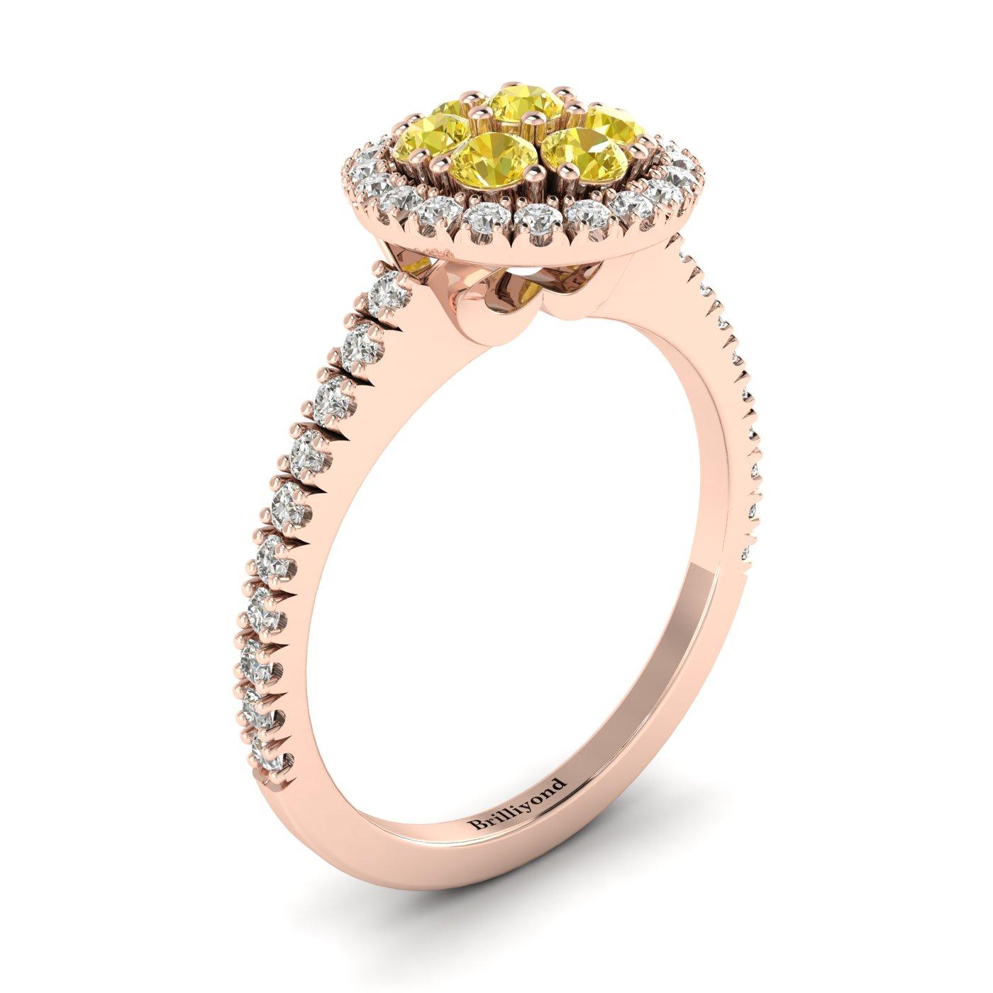 Yellow Sapphire Rose Gold Cluster Engagement Ring Lantana_image1