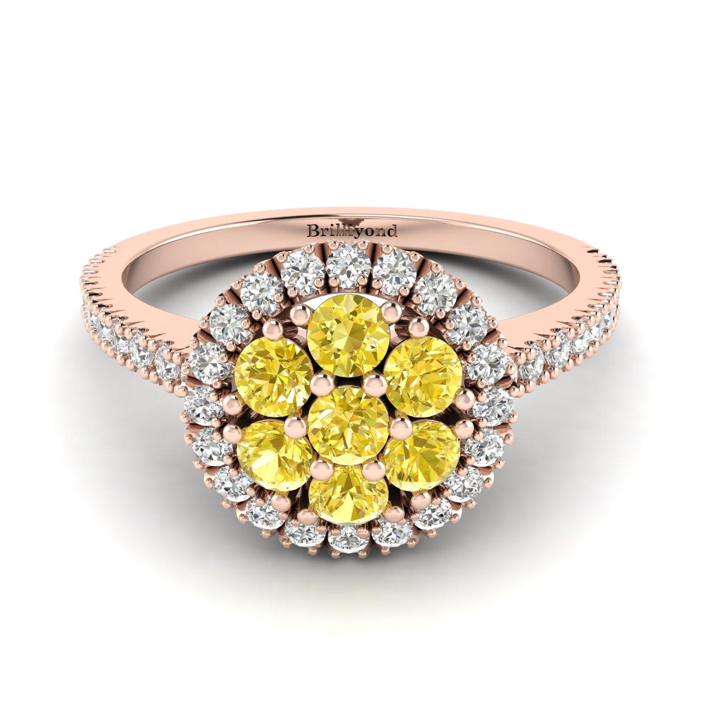 Yellow Sapphire Rose Gold Cluster Engagement Ring Lantana_image2