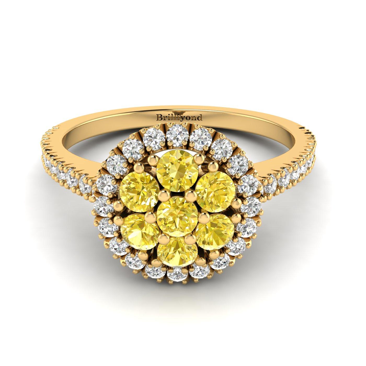 Yellow Sapphire Yellow Gold Cluster Engagement Ring Lantana_image1
